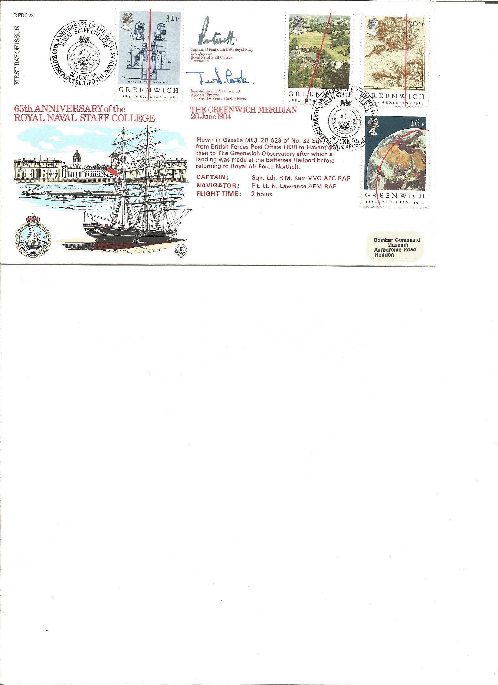 Cptn Pentreath and Rear Admiral Cook signed cove. Good