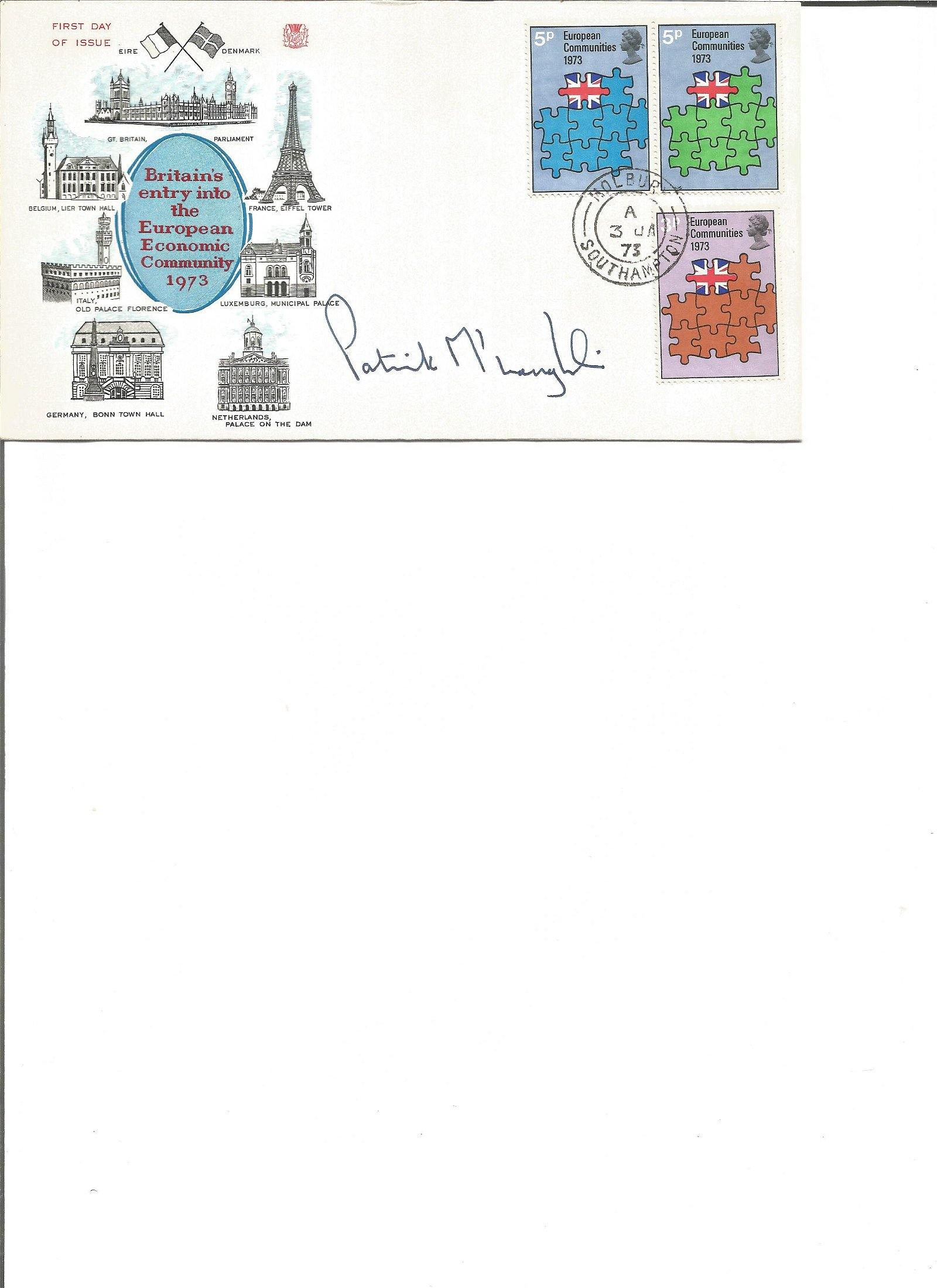 Patrick Mcloughlin signed cover. Good Condition. All