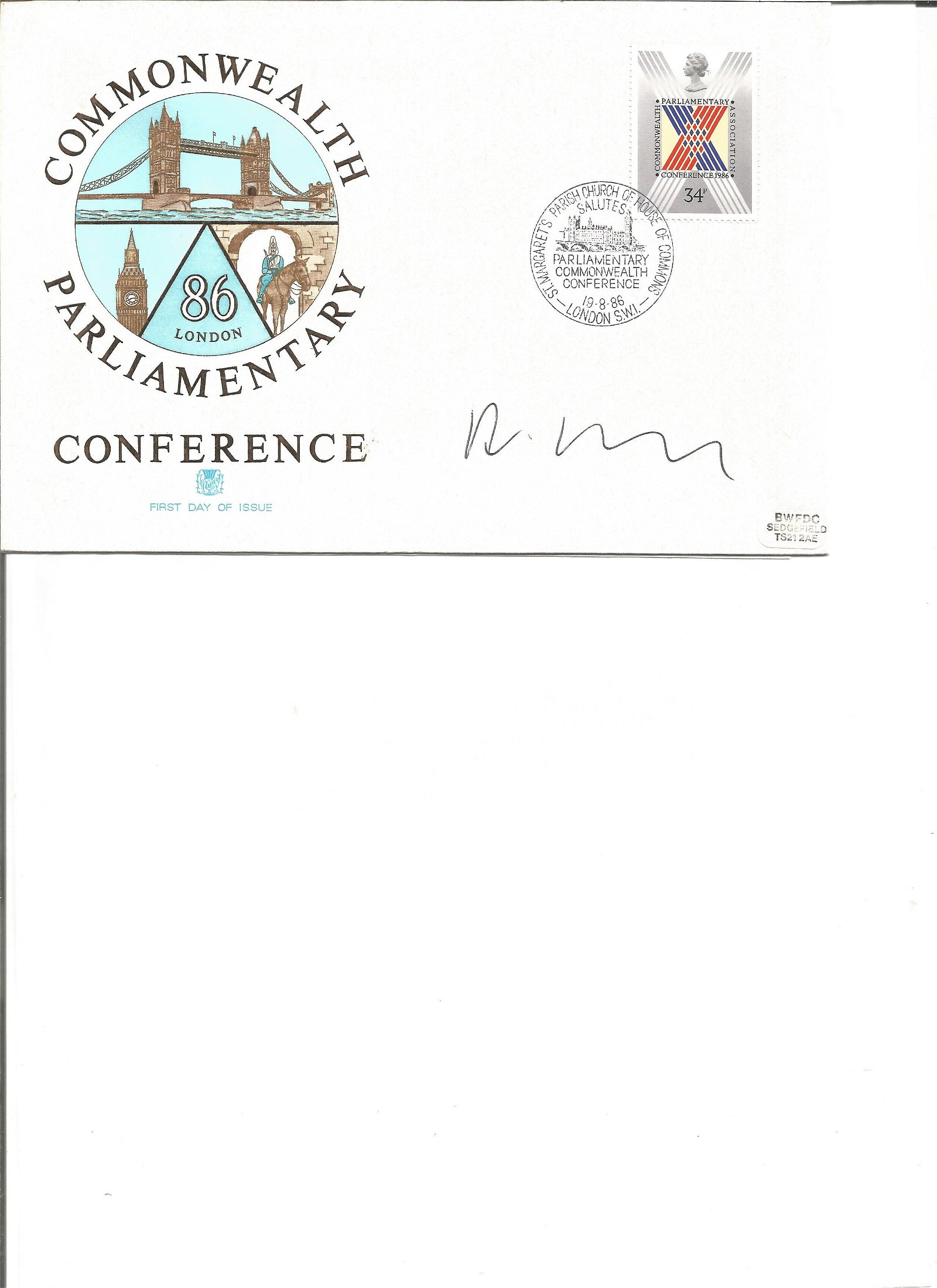 Commonwealth Parliamentary Conference cover signed by