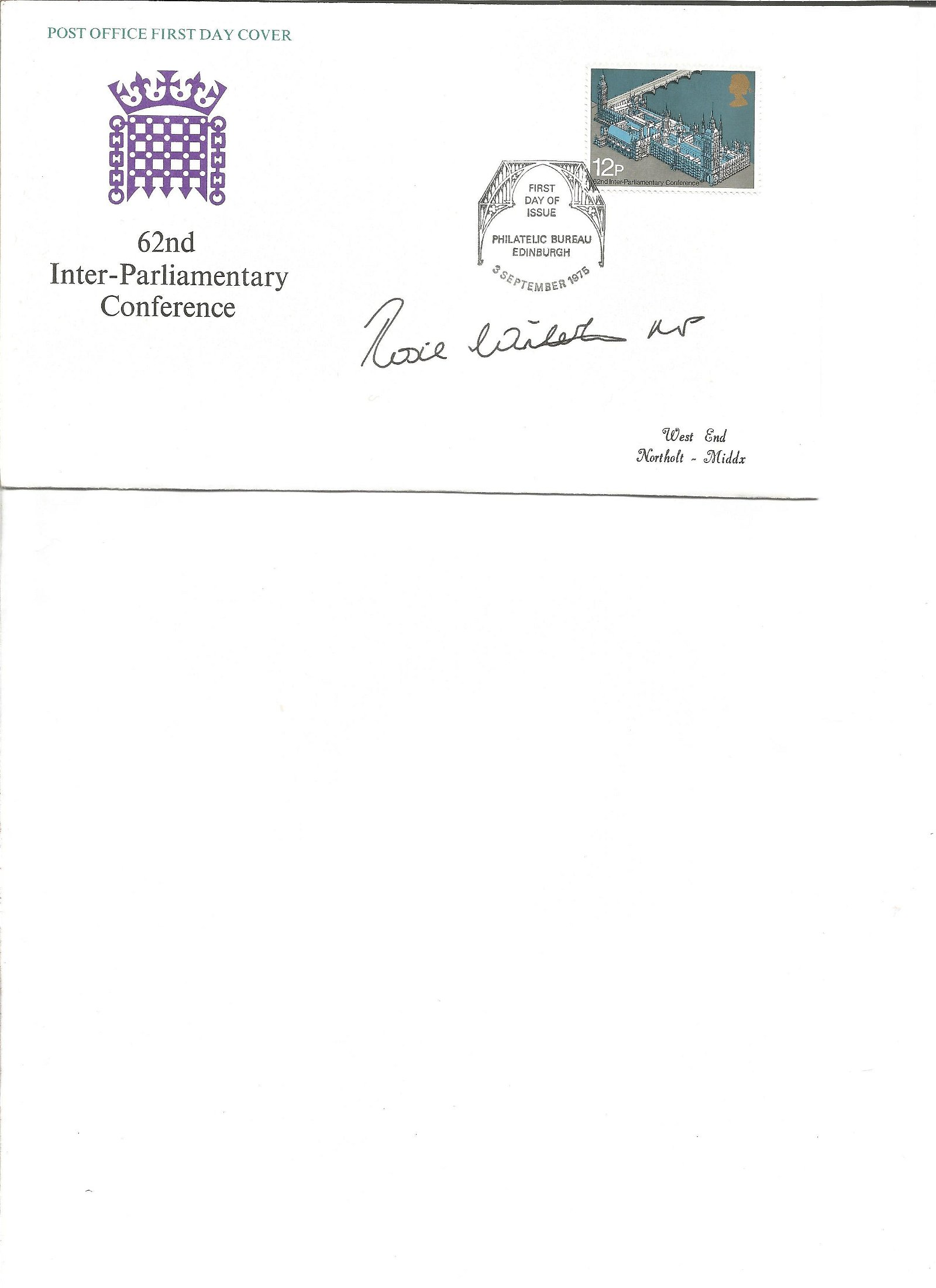 Rosie Winterton signed cover. Good Condition. All