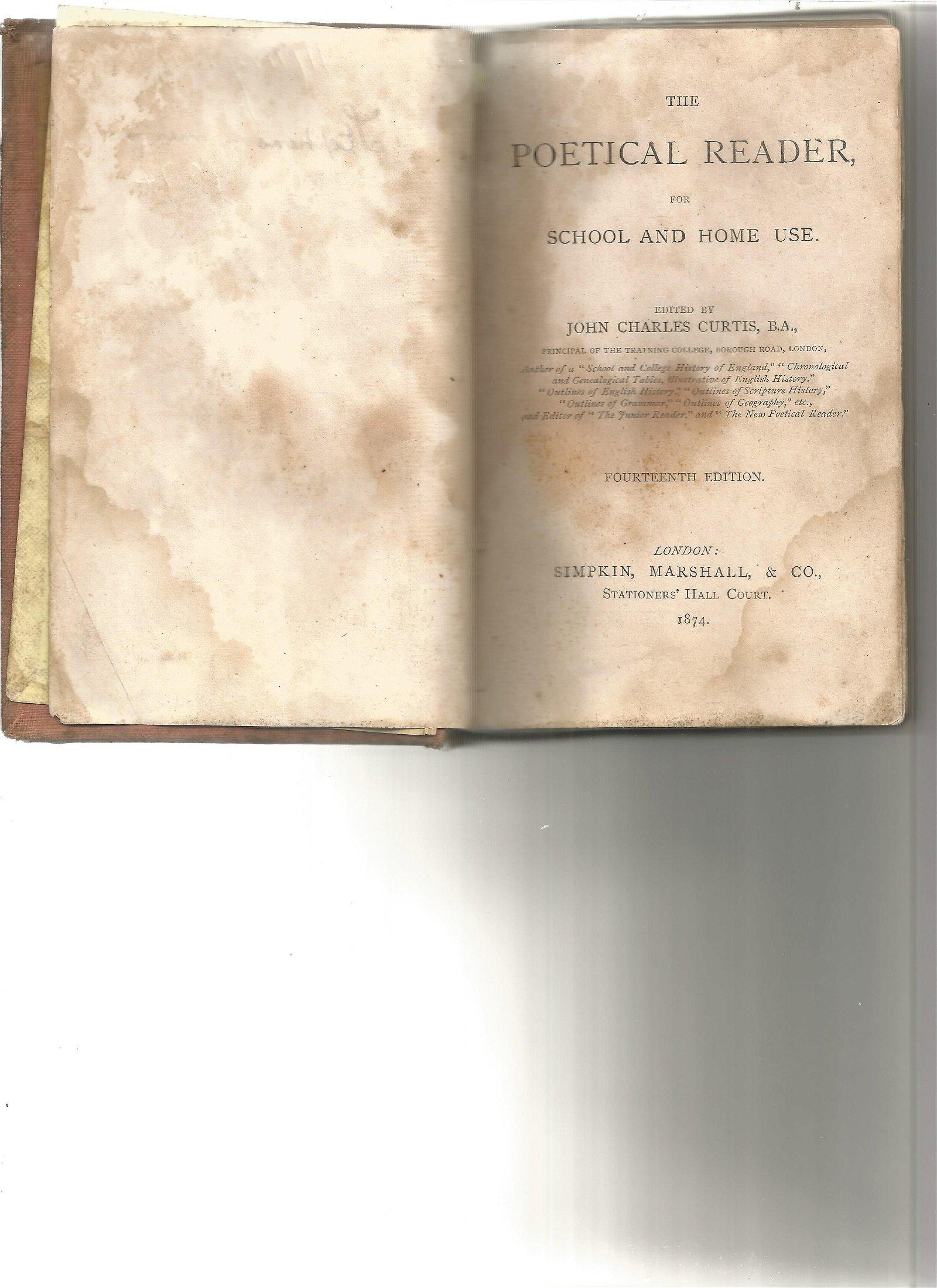 The Poetical Reader hardback book. Fourteenth edition.