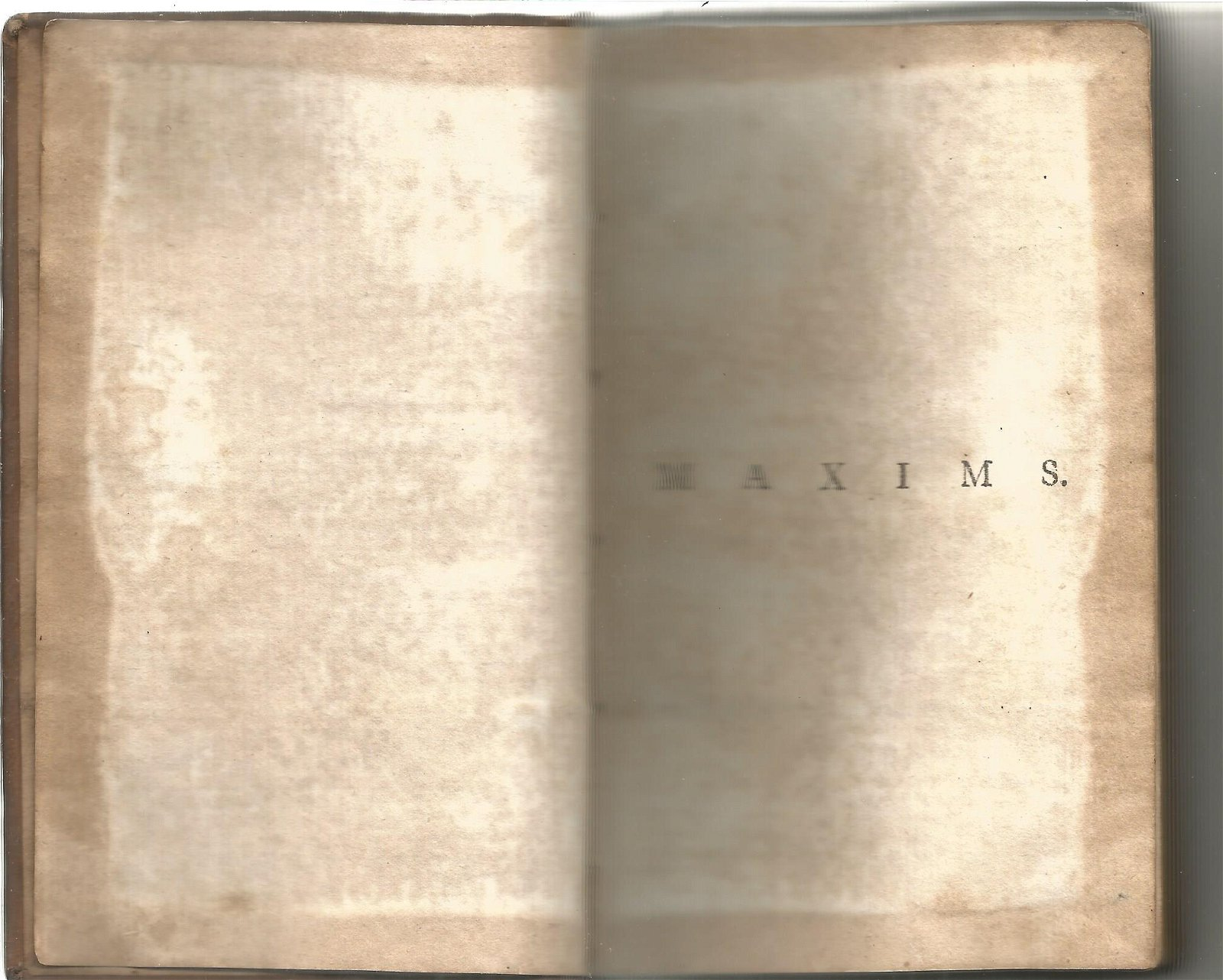 Maxims and Moral Reflections hardback book. 1776. Water
