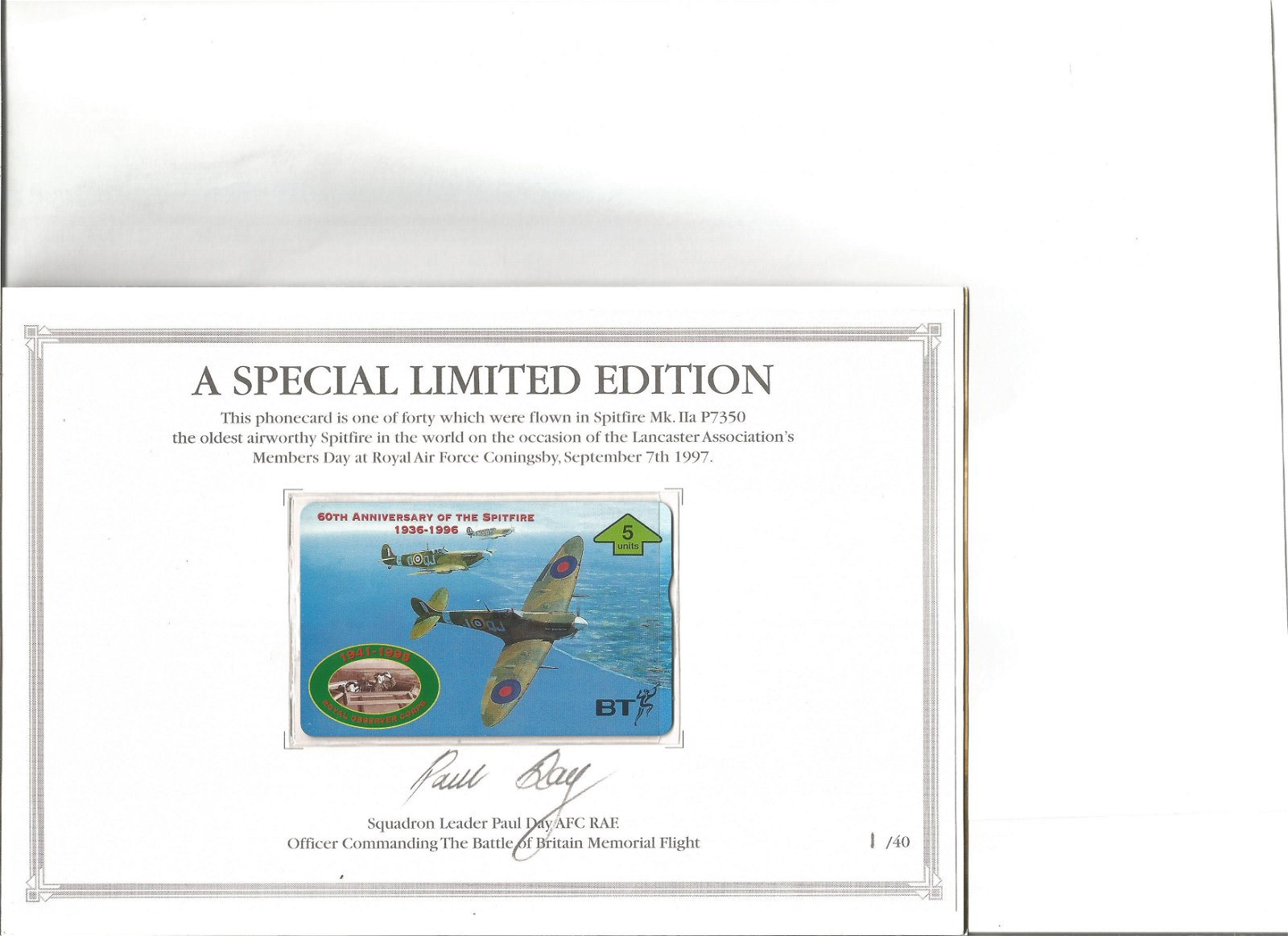 60th anniversary of the spitfire phonecard in