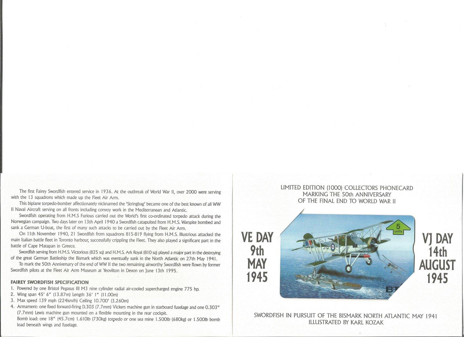 Fairey Swordfish Mk1 50th anniv of the final end to