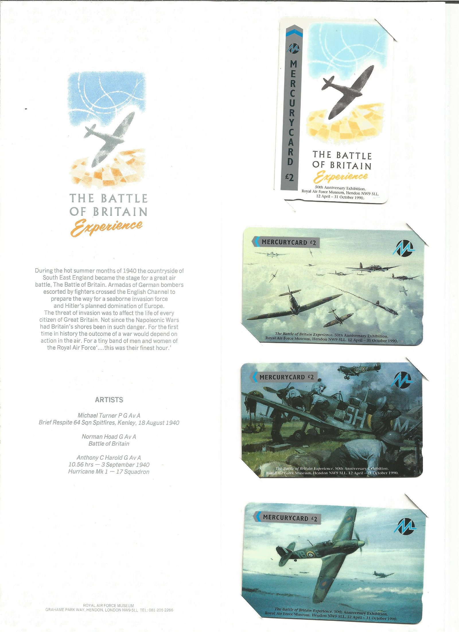 Battle of Britain experience phonecards in presentation