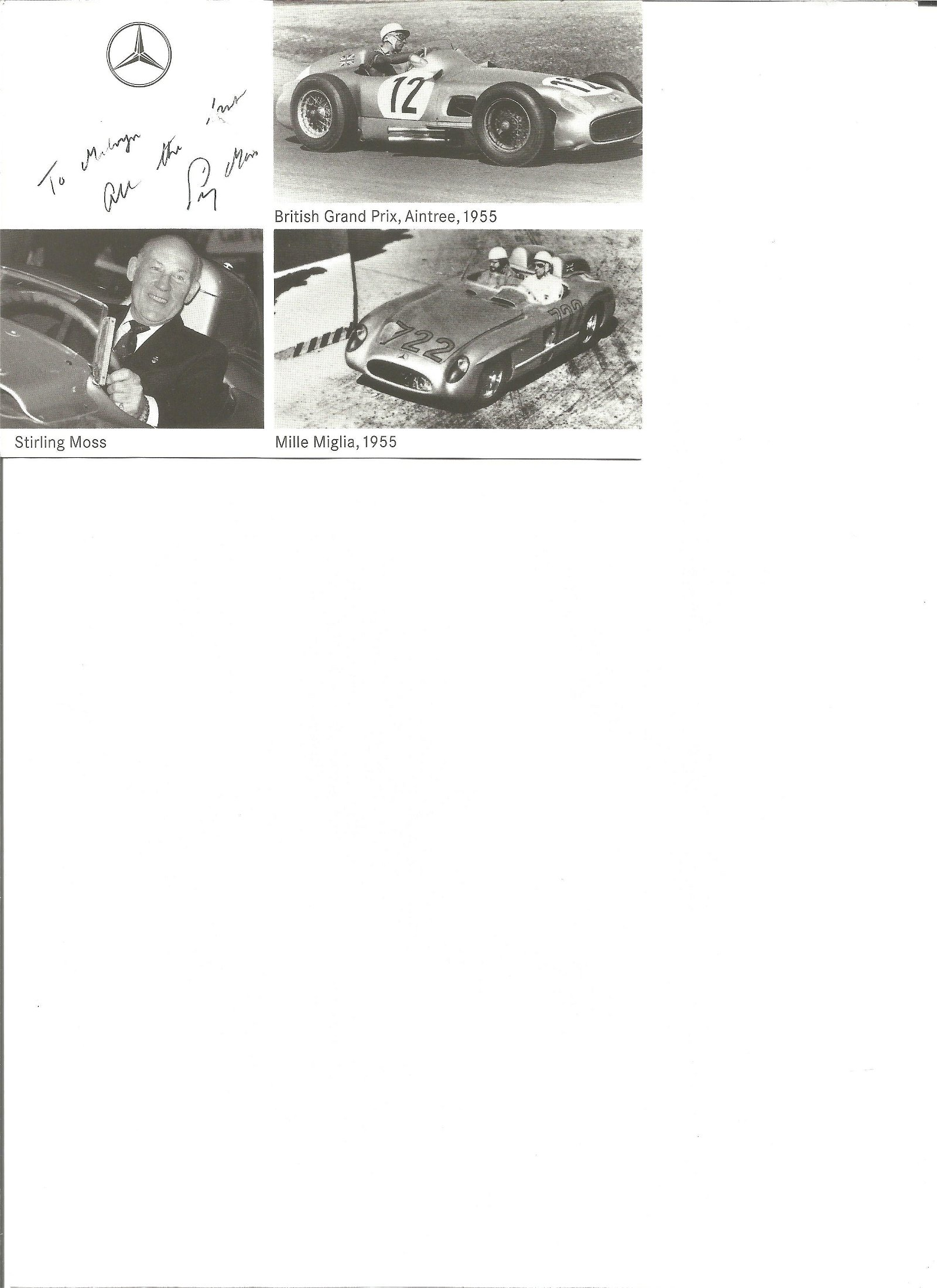 Stirling Moss signed 6x4 montage black and white photo,