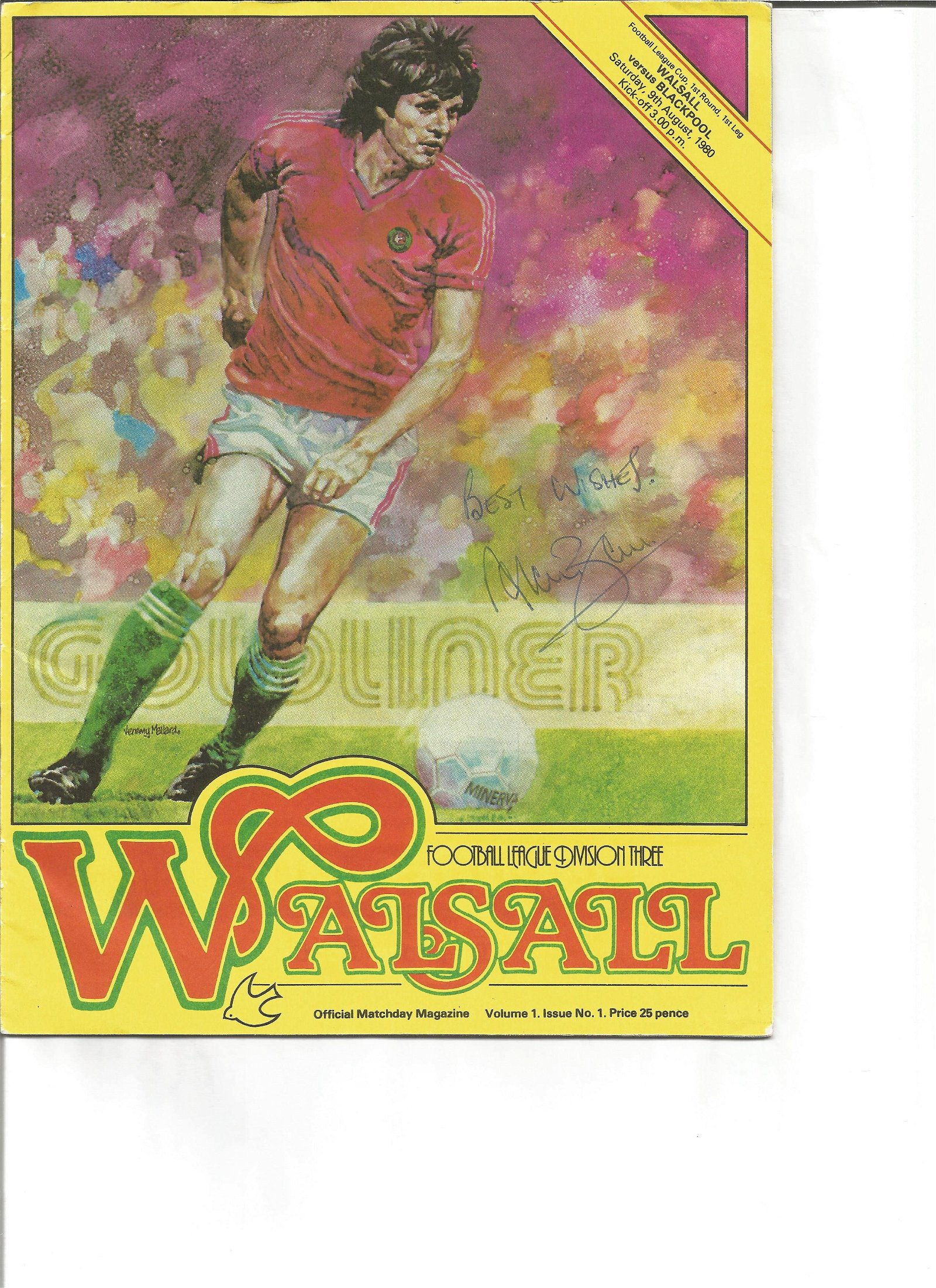 Alan Ball signed Walsall matchday programme, Signed on