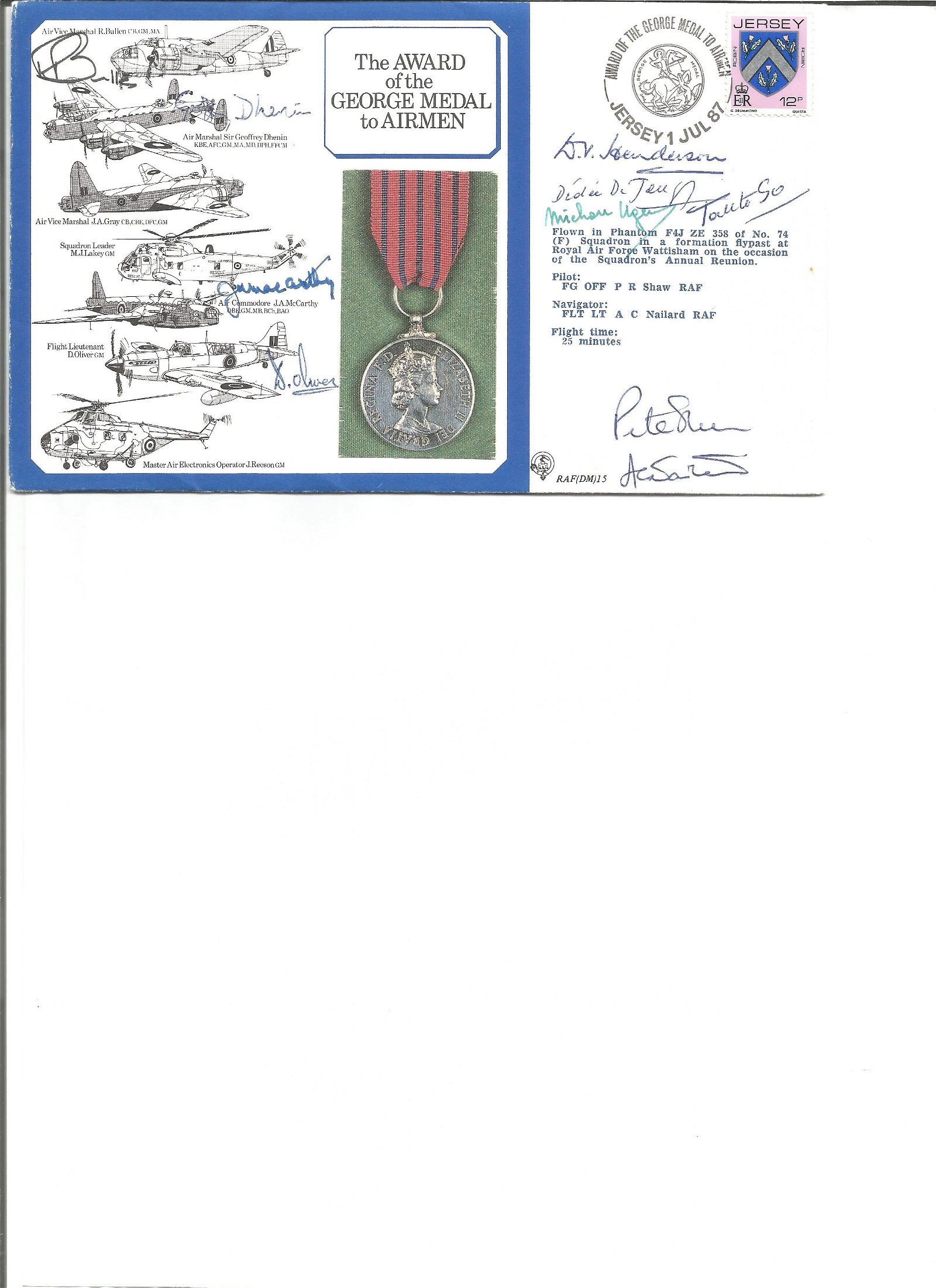 WW2 Award of George Medal to Airmen Medal cover signed