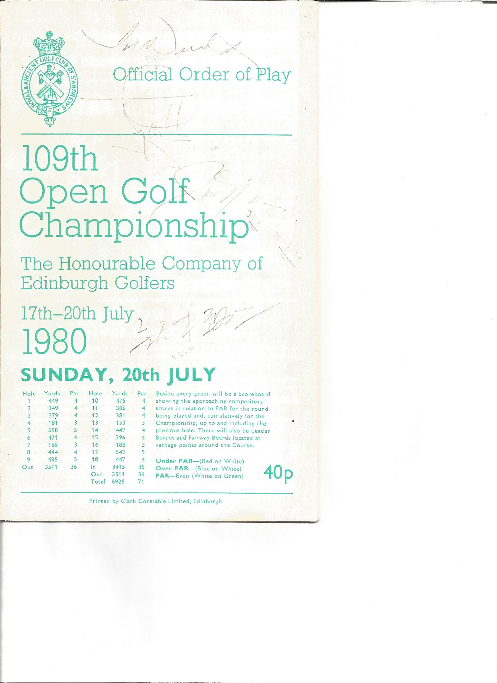 Golf 109th Open Championship Official Order of Play