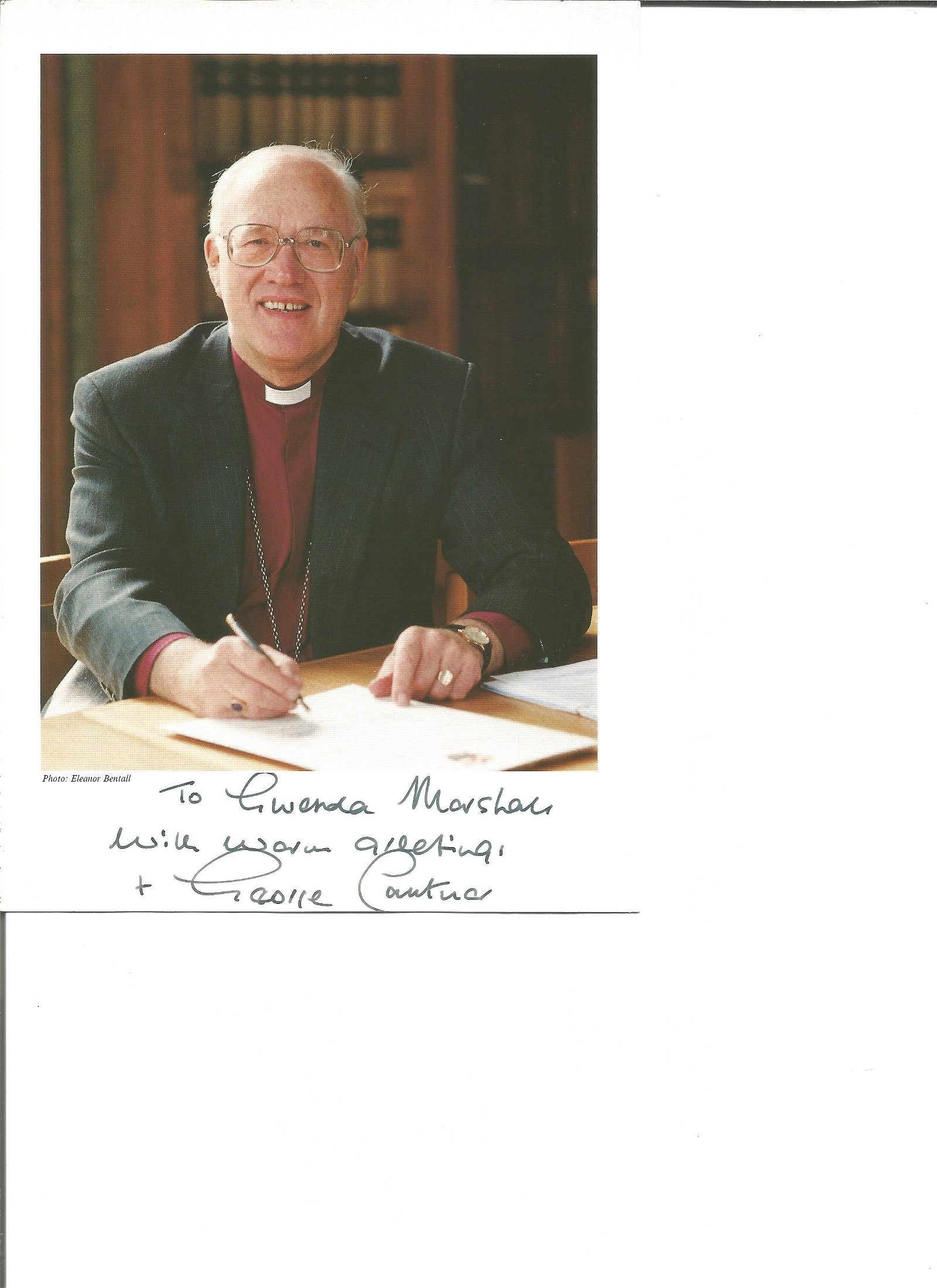 George Carey signed 8x6 colour photo, retired Anglican