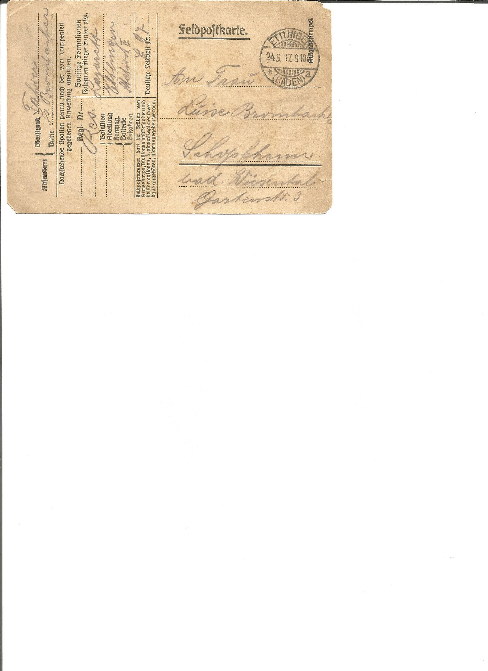 World War I personal narrative date stamped 17, 9,