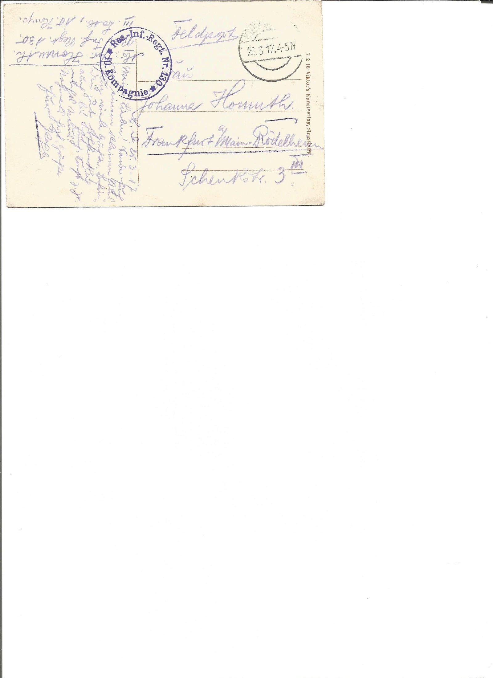 Great War Postal history postcard dated 26/3/1917,