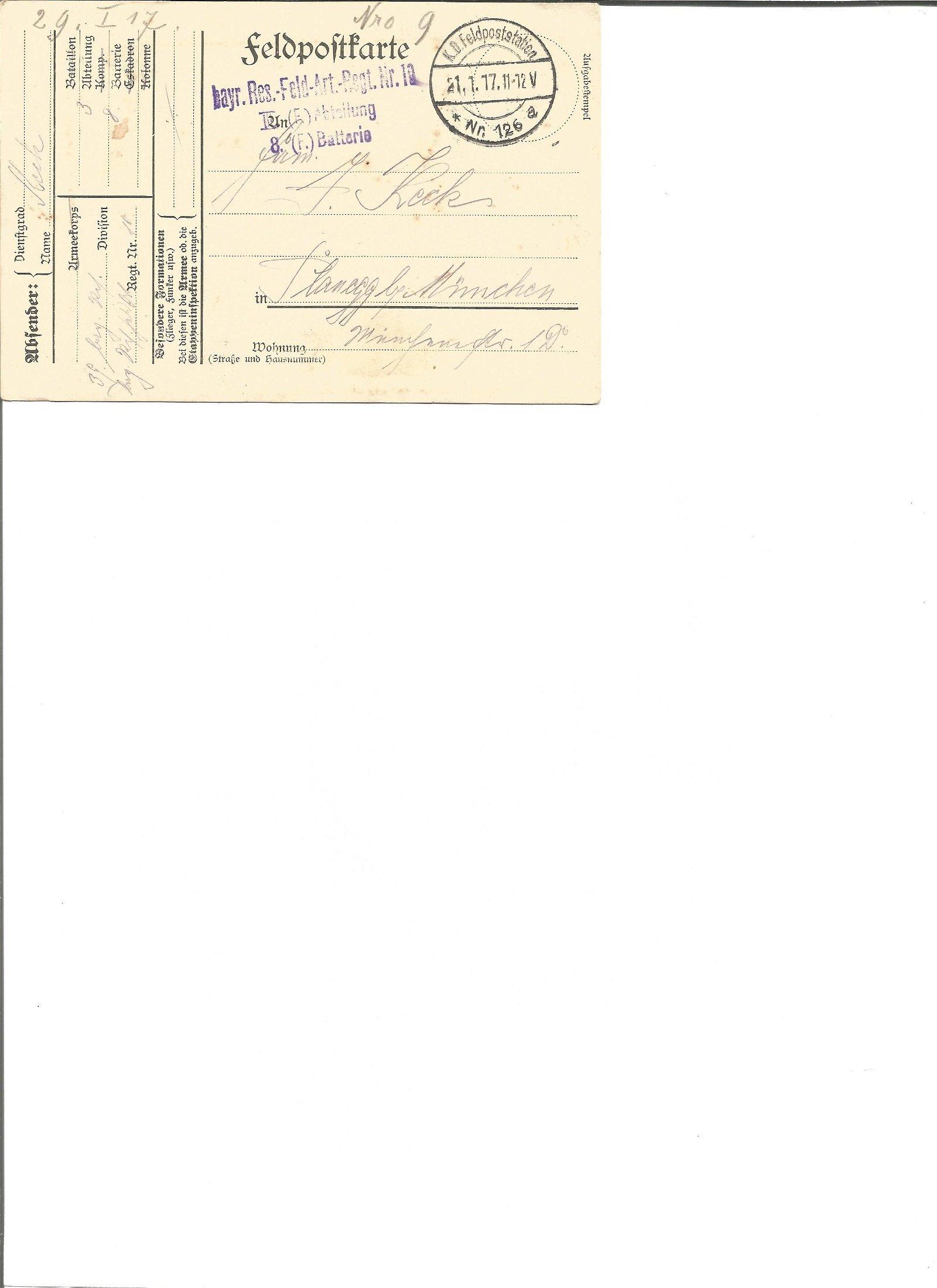 Great War Feldpofttarte postal history, Postmarked