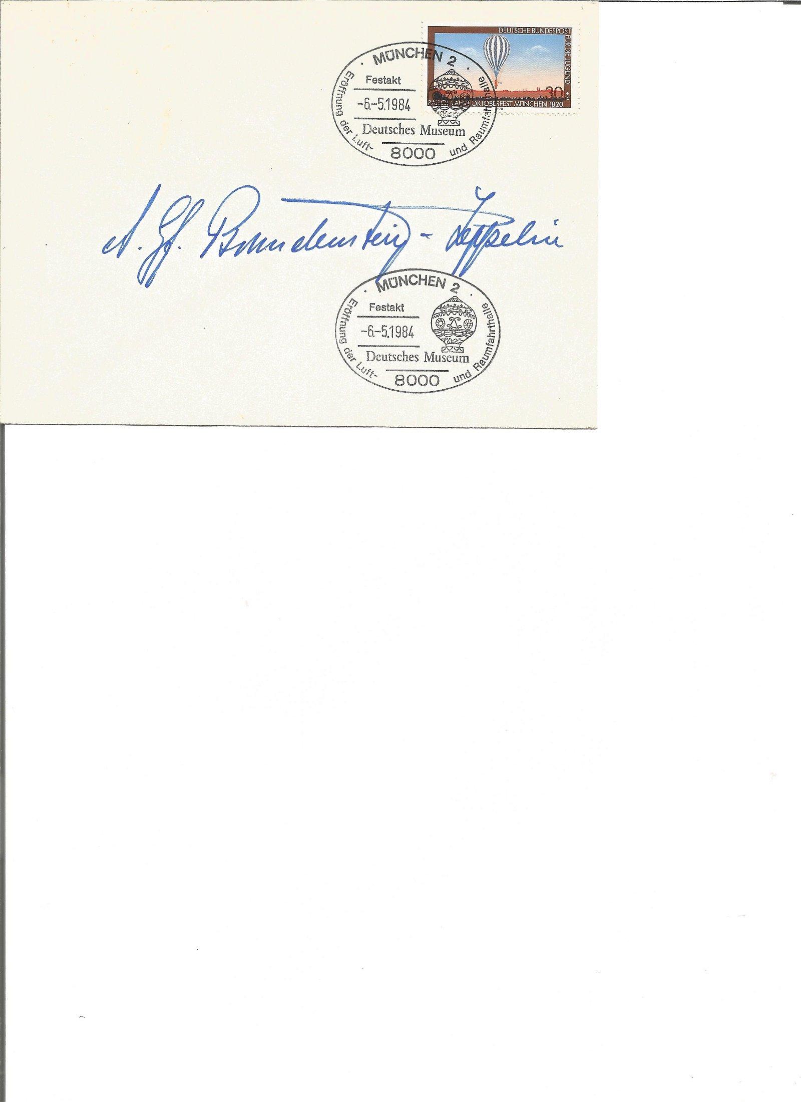 Zeppelin Isa Von Brandenstein Zeppelin signed 1984