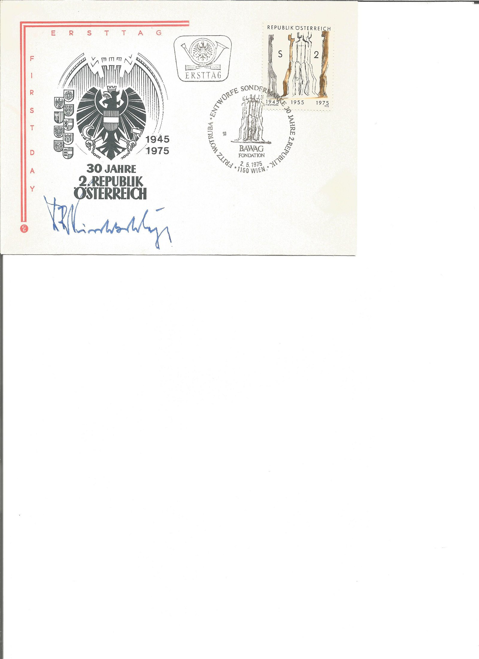 Austrian President Dr Rudolf Kirchschlager signed 1975