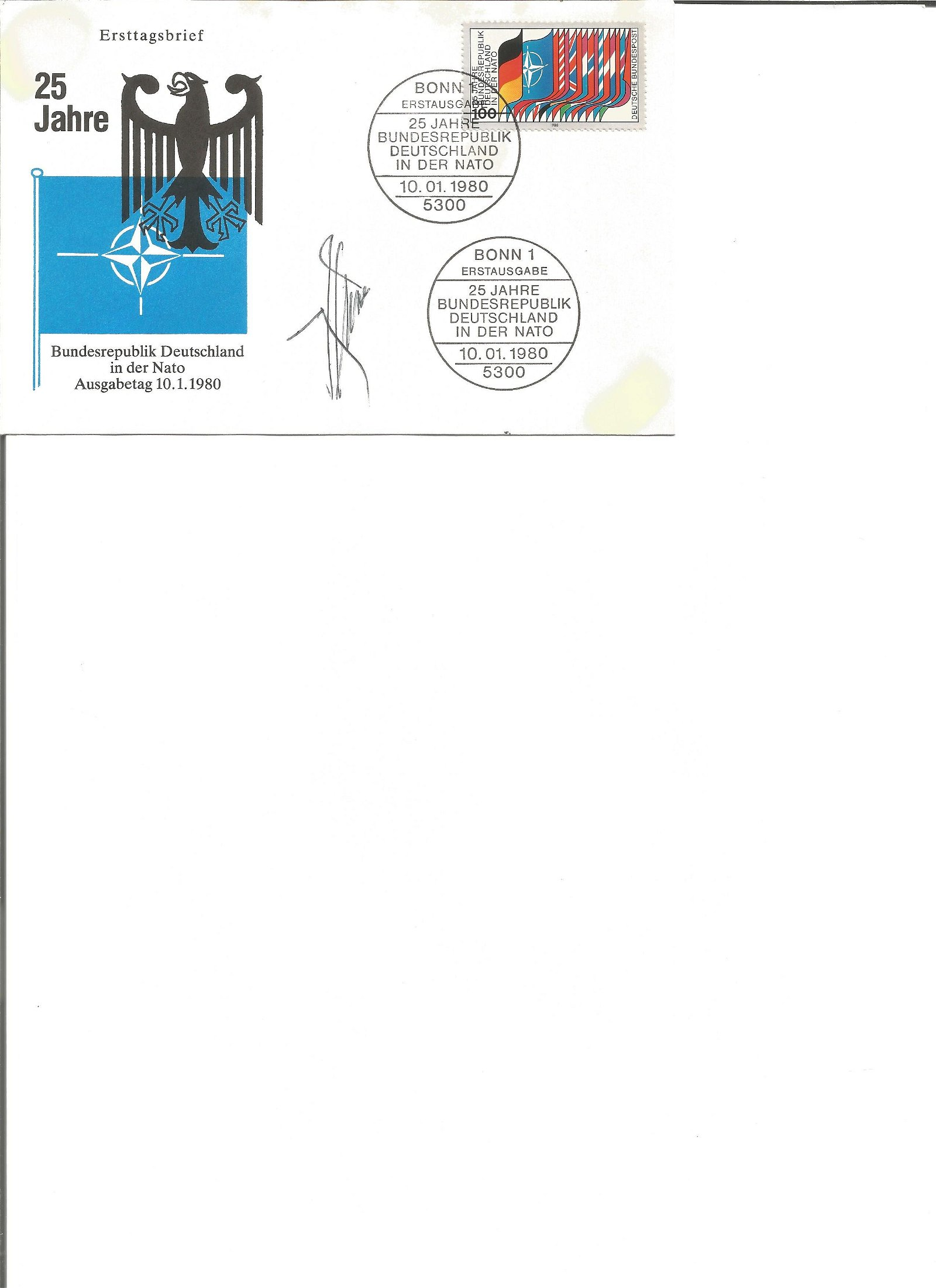 NATO Dr Joseph Luns signed 1980 25th ann Germany in
