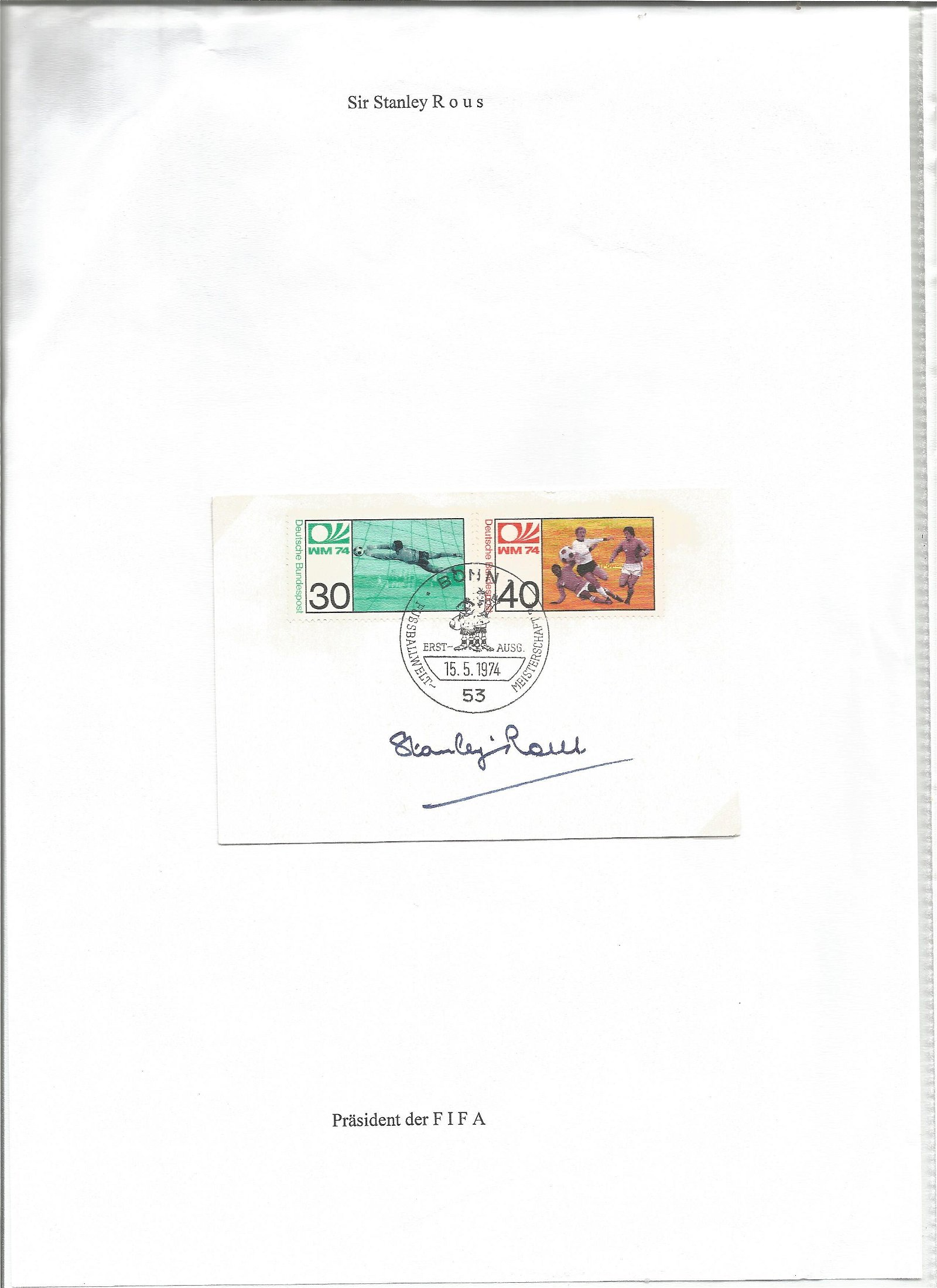 Stanley Rous signed 1974 sport stamp sheet set on