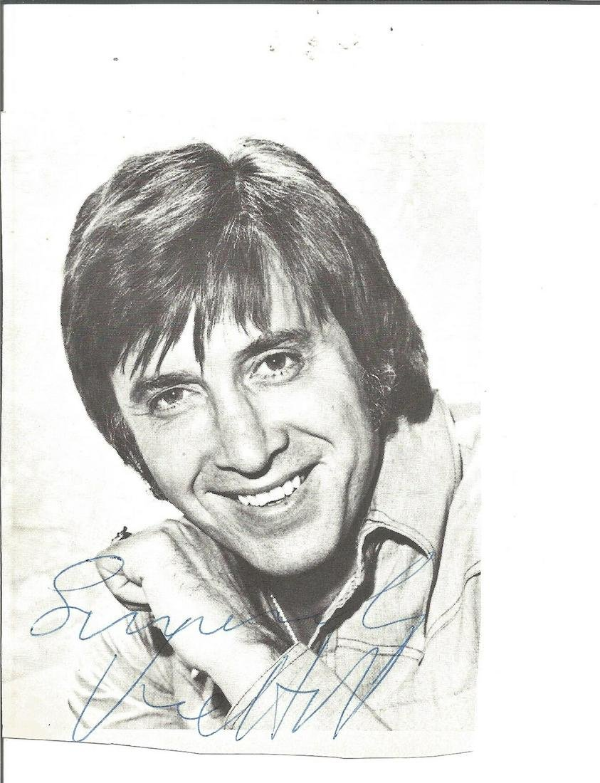 Vince Hill signed 4x4 black and white photo. Good