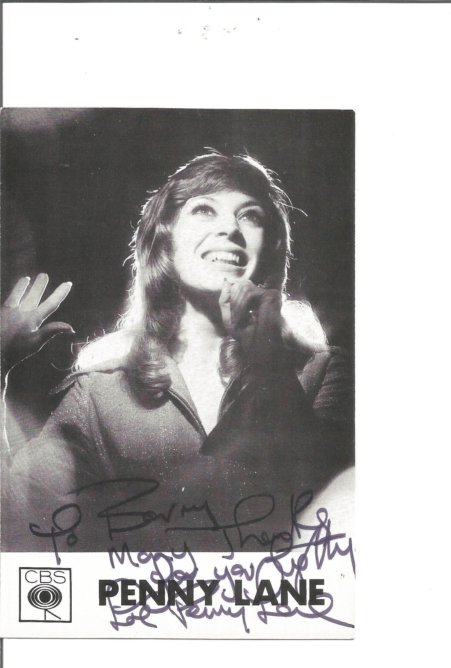 Penny Lane signed 6x4 black and white photo. Dedicated.