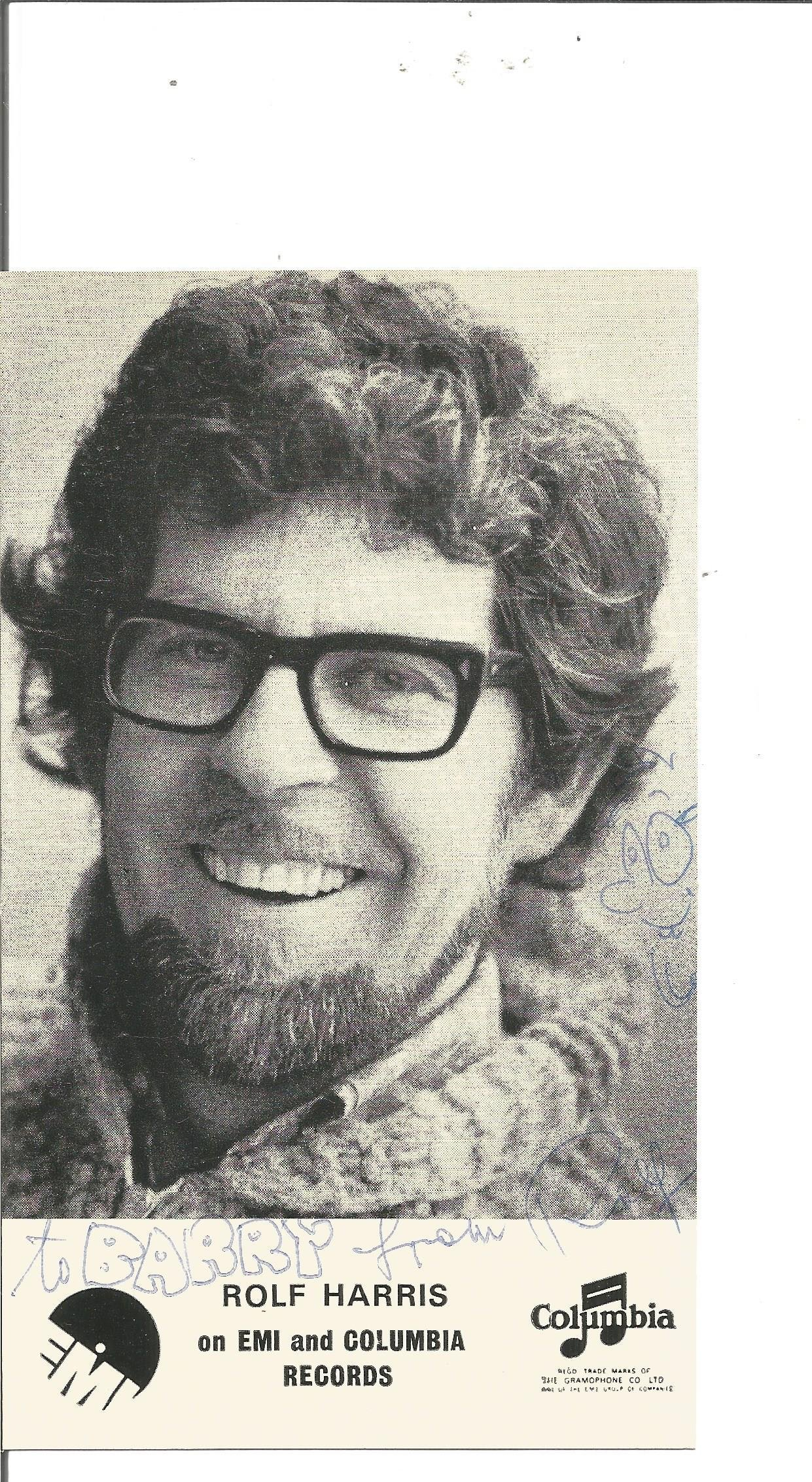 Rolf Harris signed 6x4 black and white photo.