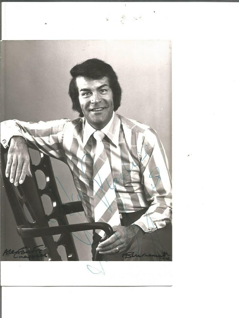 Ted Rogers signed 4x4 black and white photo. Dedicated.