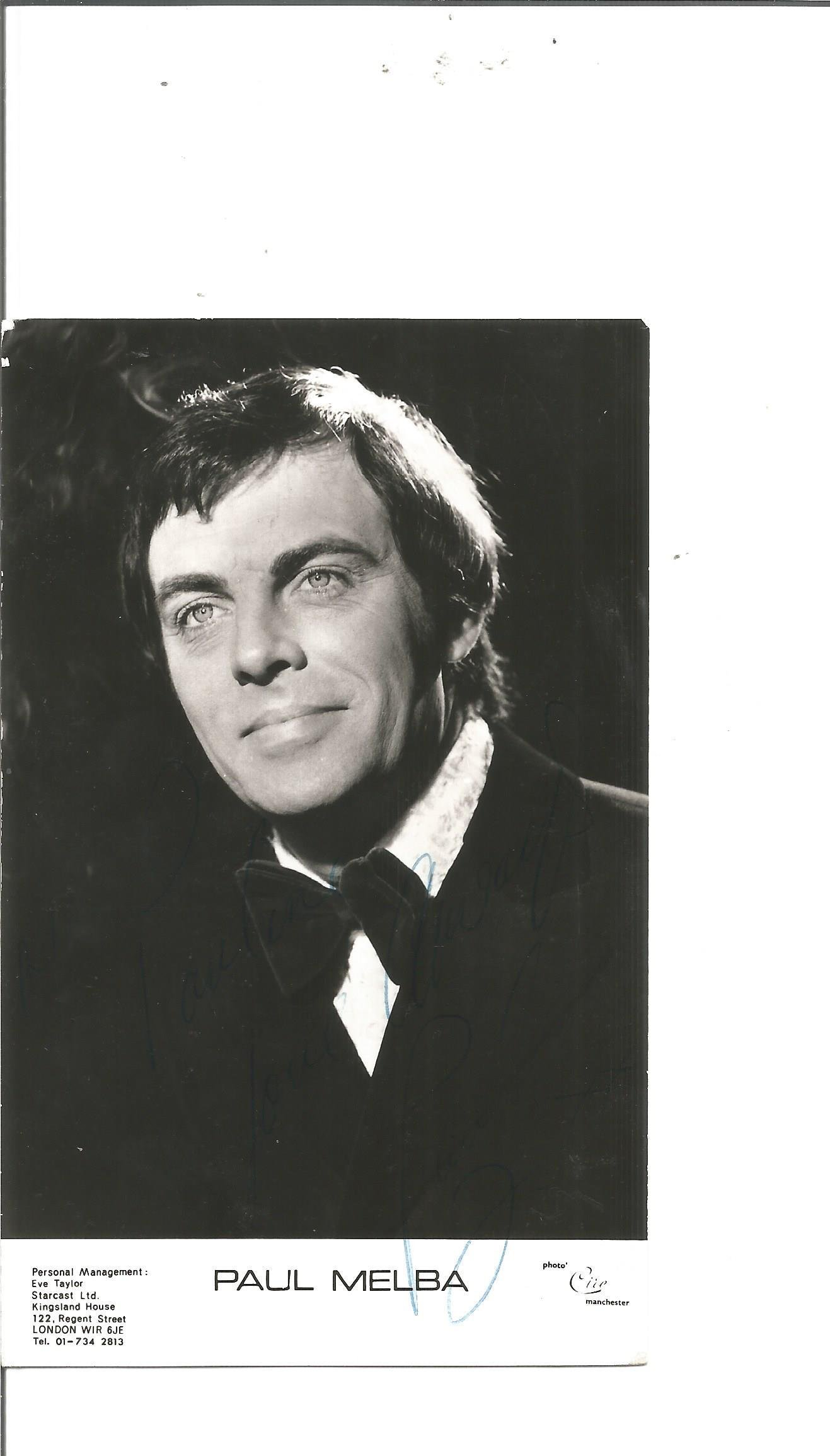Paul Melba signed 6x3 black and white photo. Good