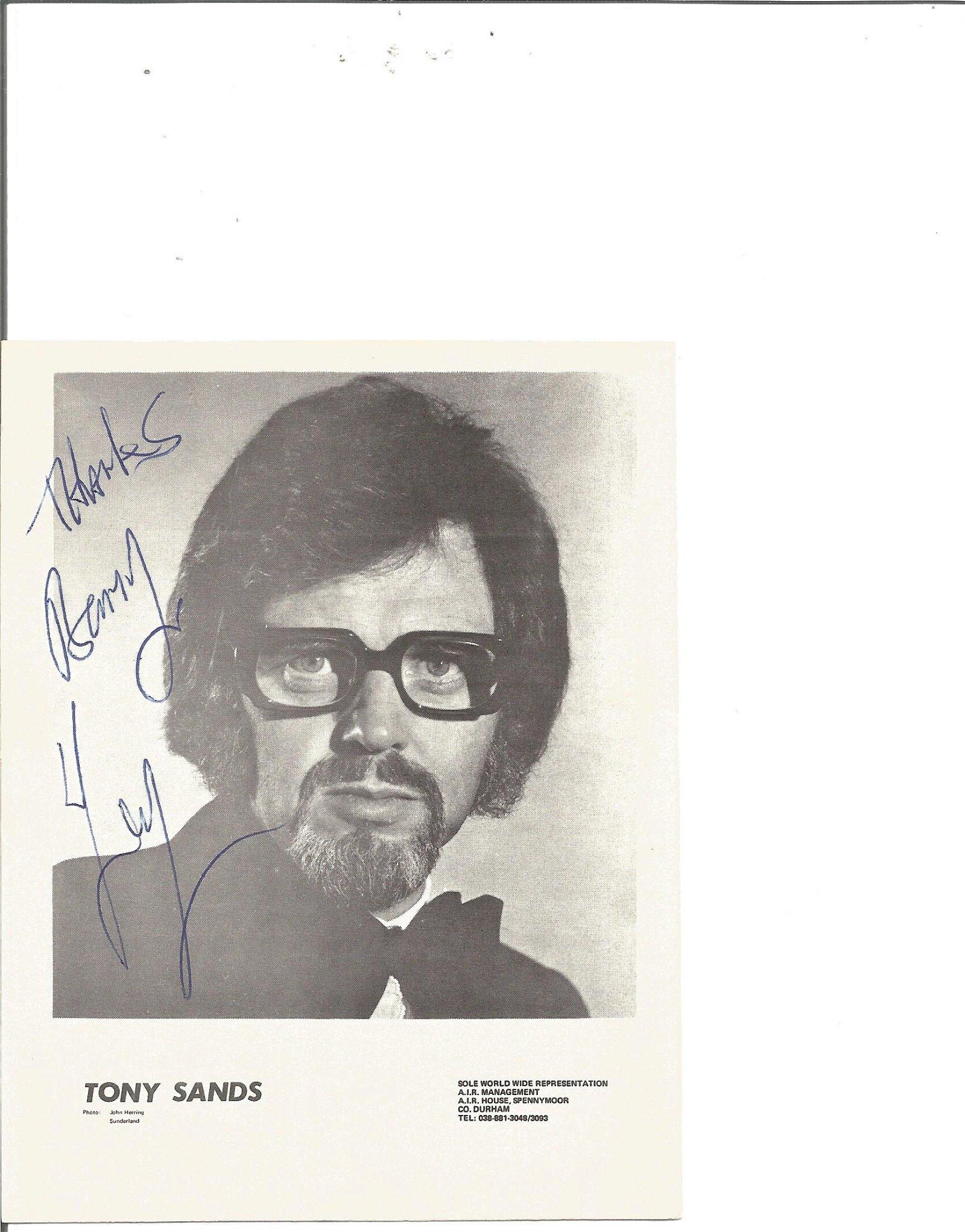 Tony Sands signed 4x4 black and white photo. Dedicated.
