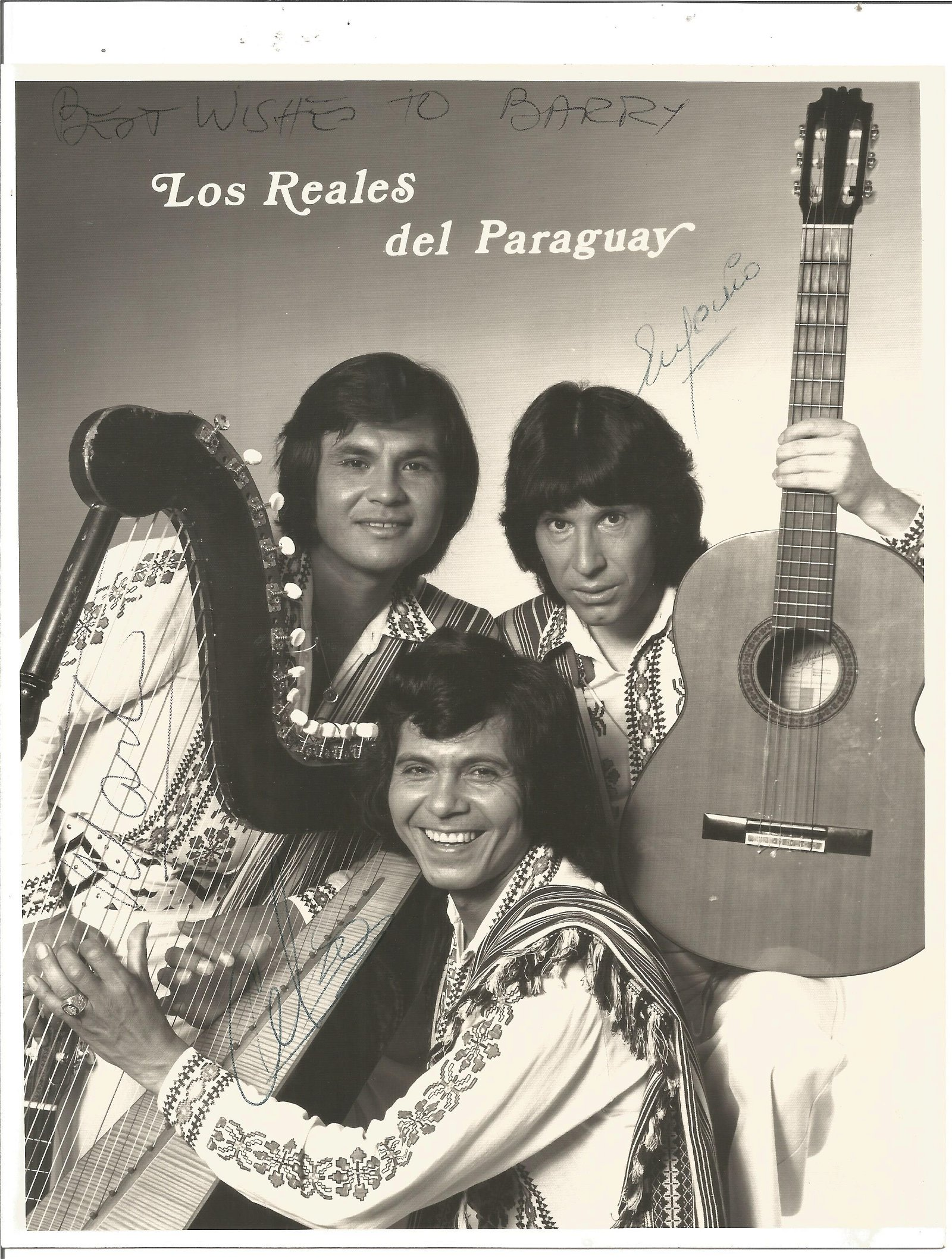 Los Reales del Paraguay signed 10x8 black and white