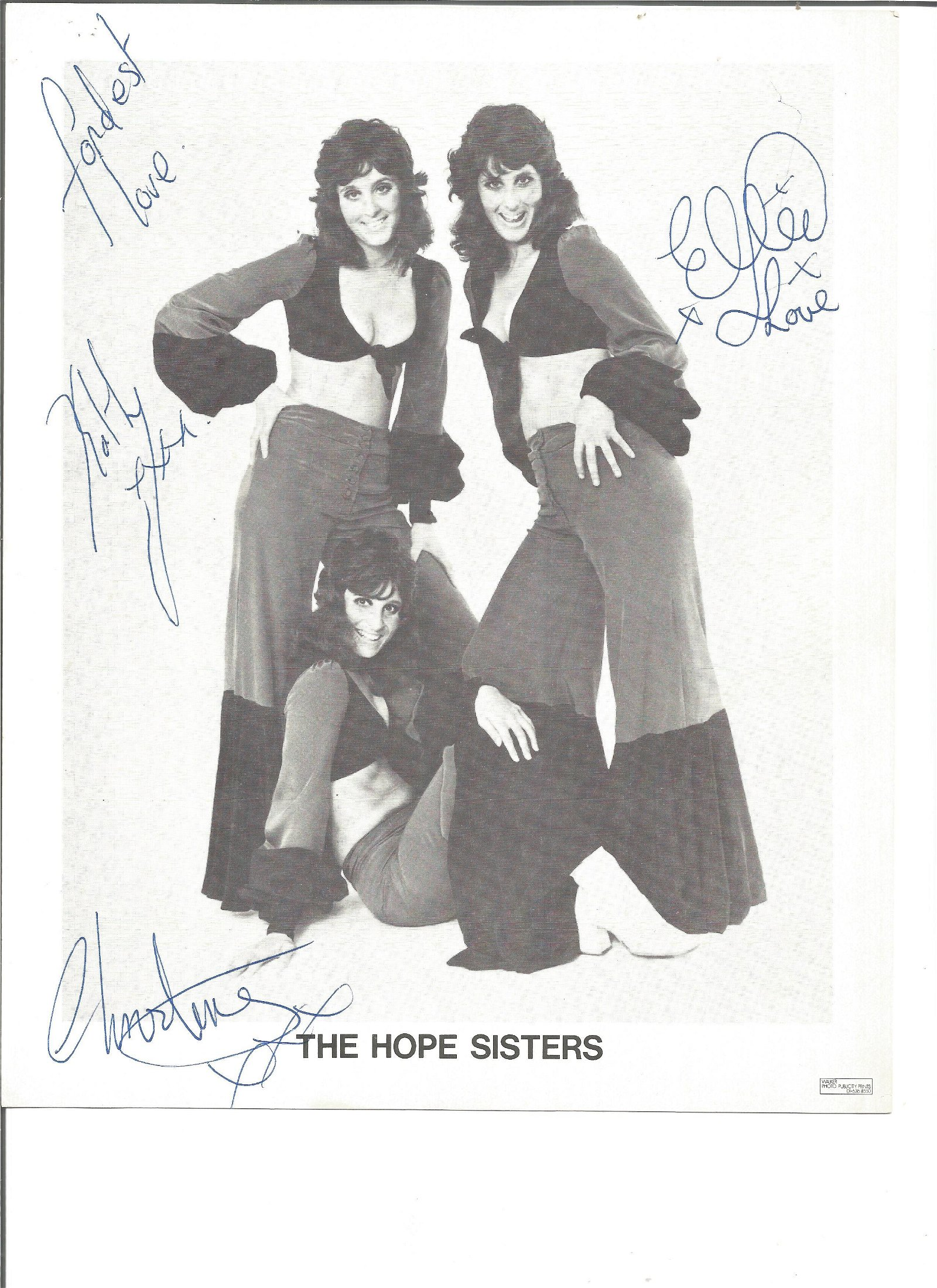 The Hope Sisters signed 10x8 black and white photo.