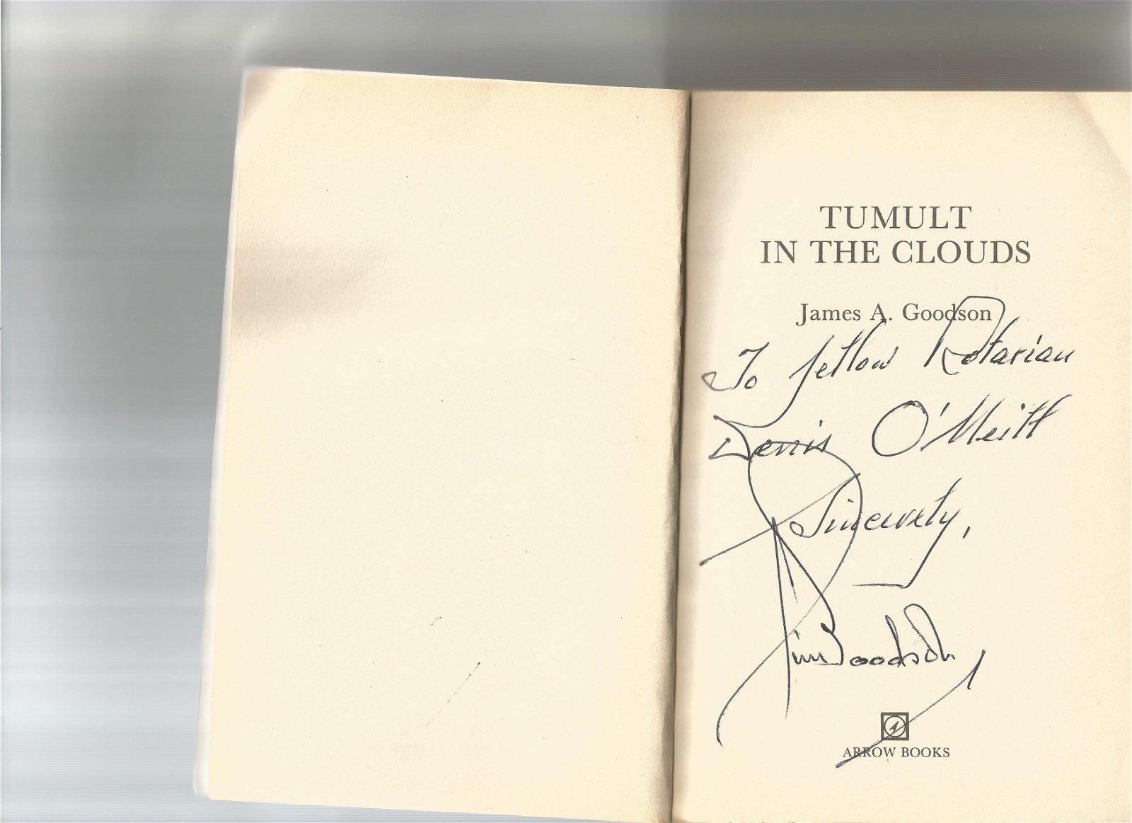 WW2 ace James Goodson signed copy of his softback book