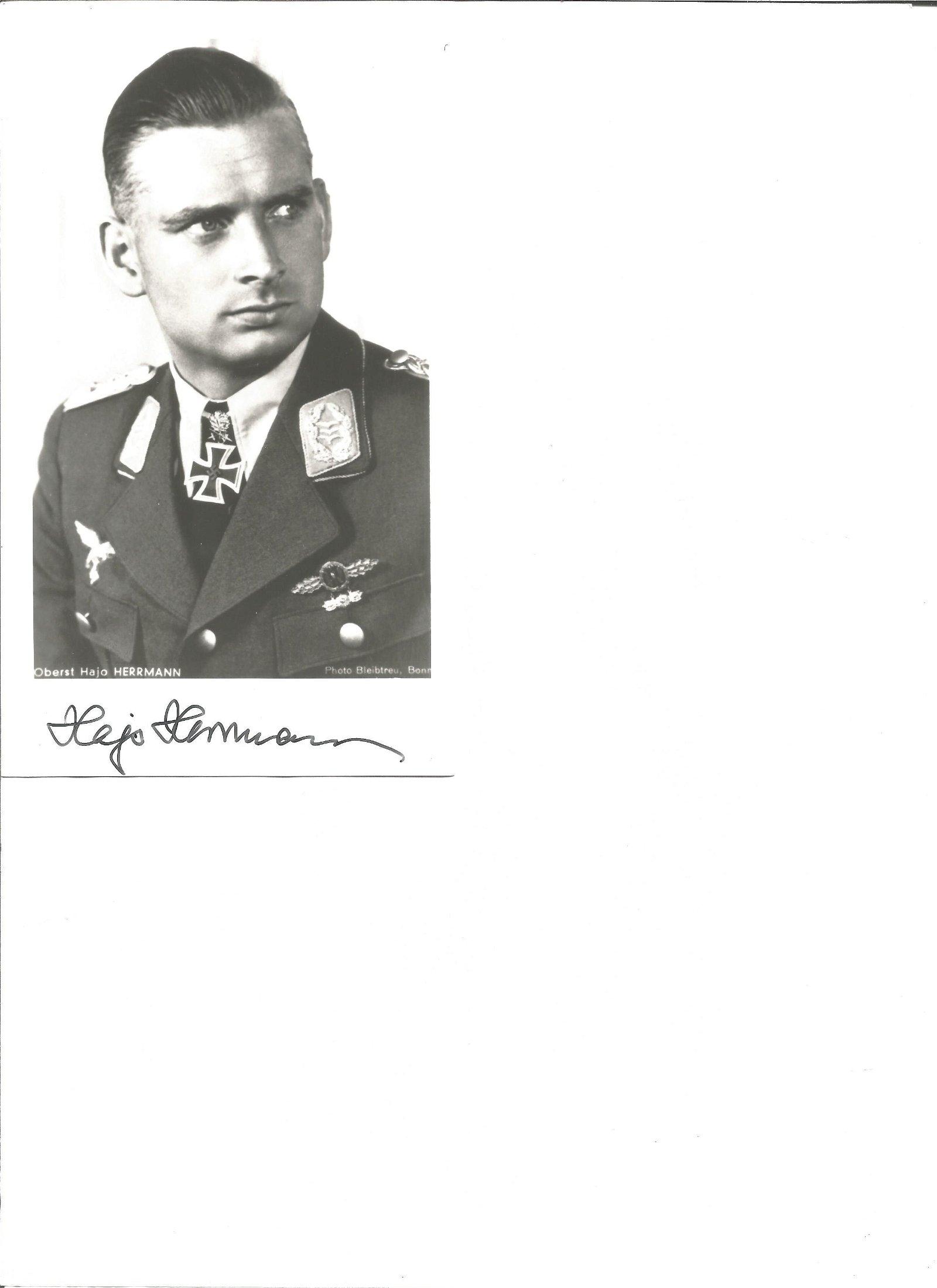 WW2 Luftwaffe fighter ace Hajo Herrmann KC signed 6 x 4