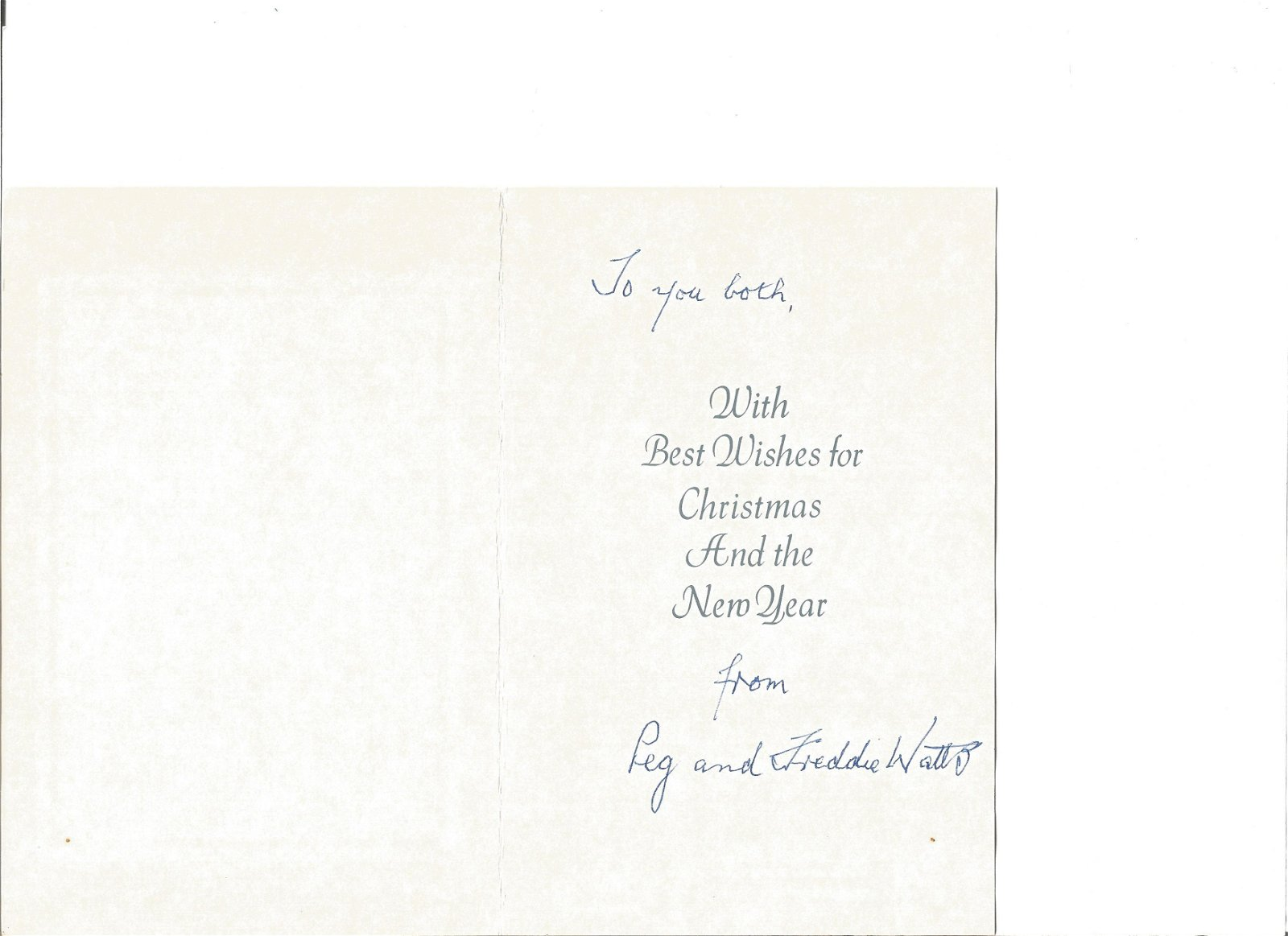 WW2 617 Sqn Freddie Watts signed Christmas card to 617