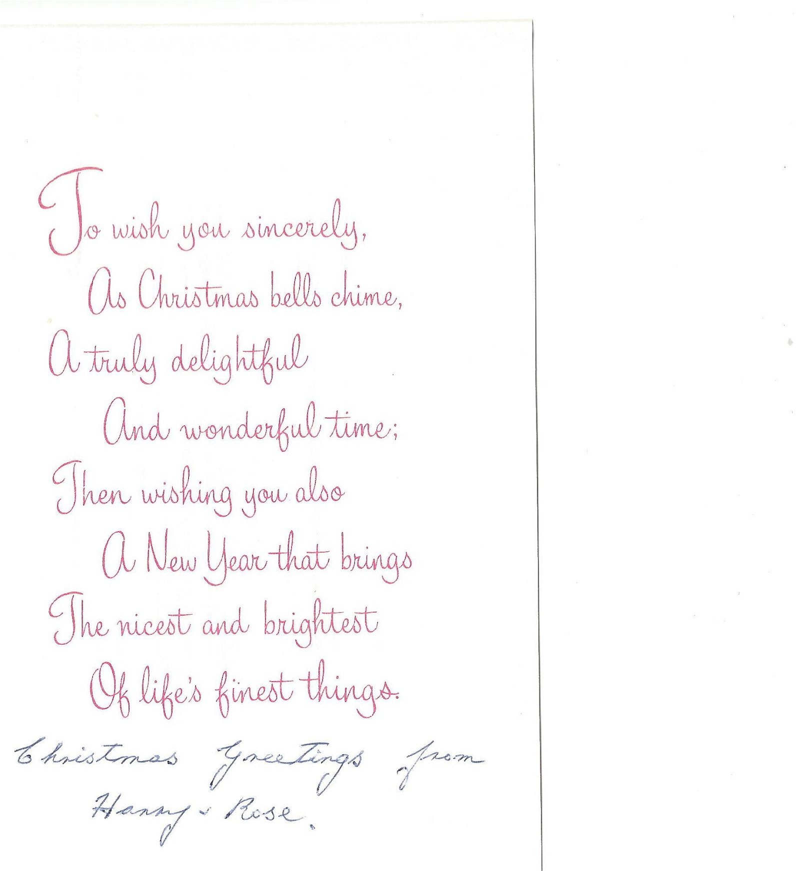 WW2 617 Sqn Harry Johnson signed Christmas card to 617