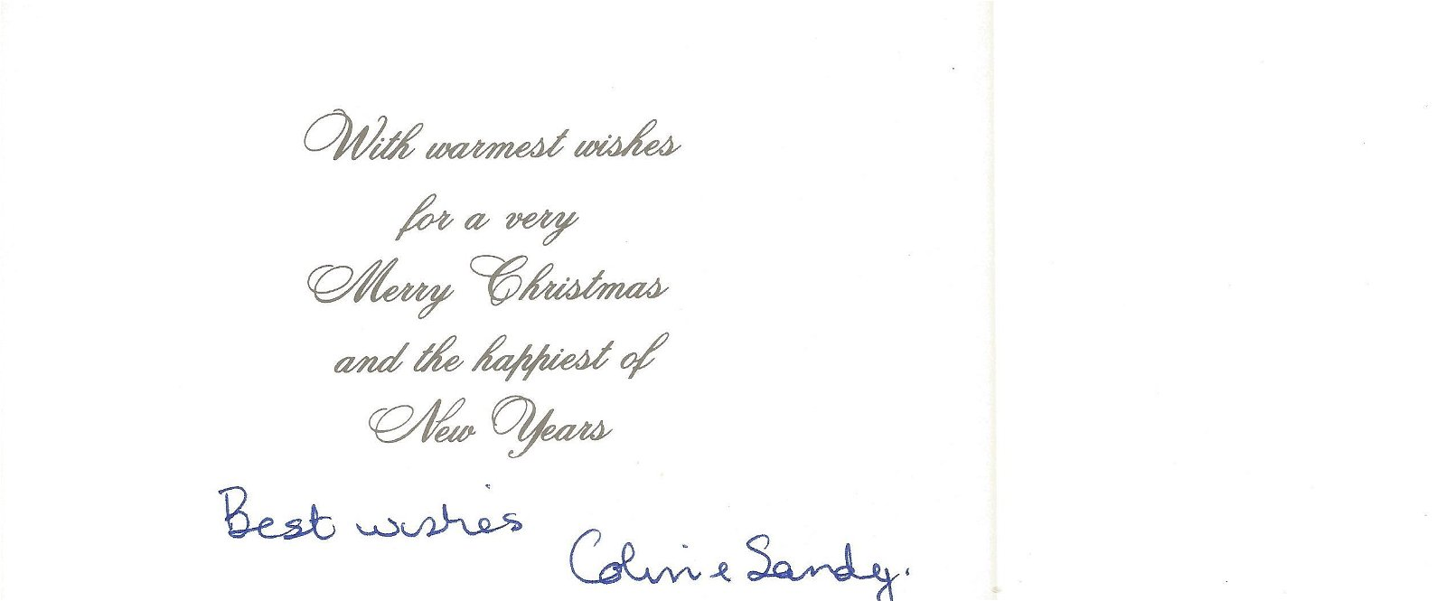 WW2 617 Sqn Colin Cole signed Christmas card to 617 Sqn