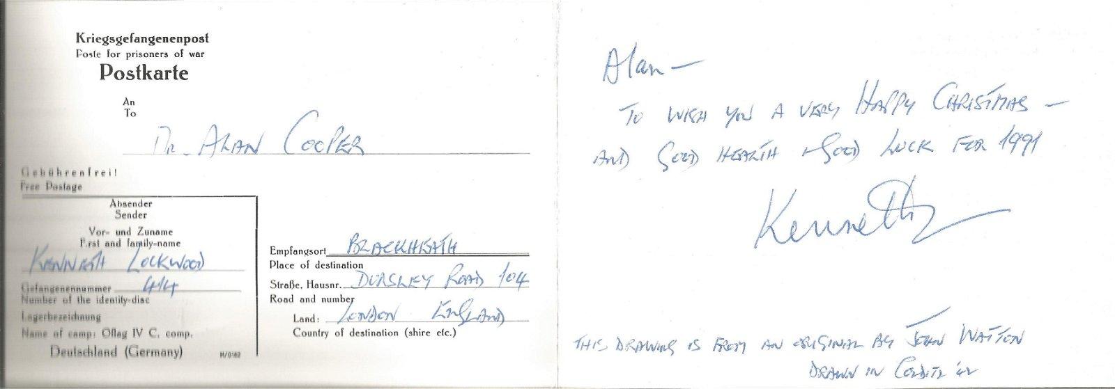 WW2 Colditz inmate Kenneth Lockwood signed Christmas