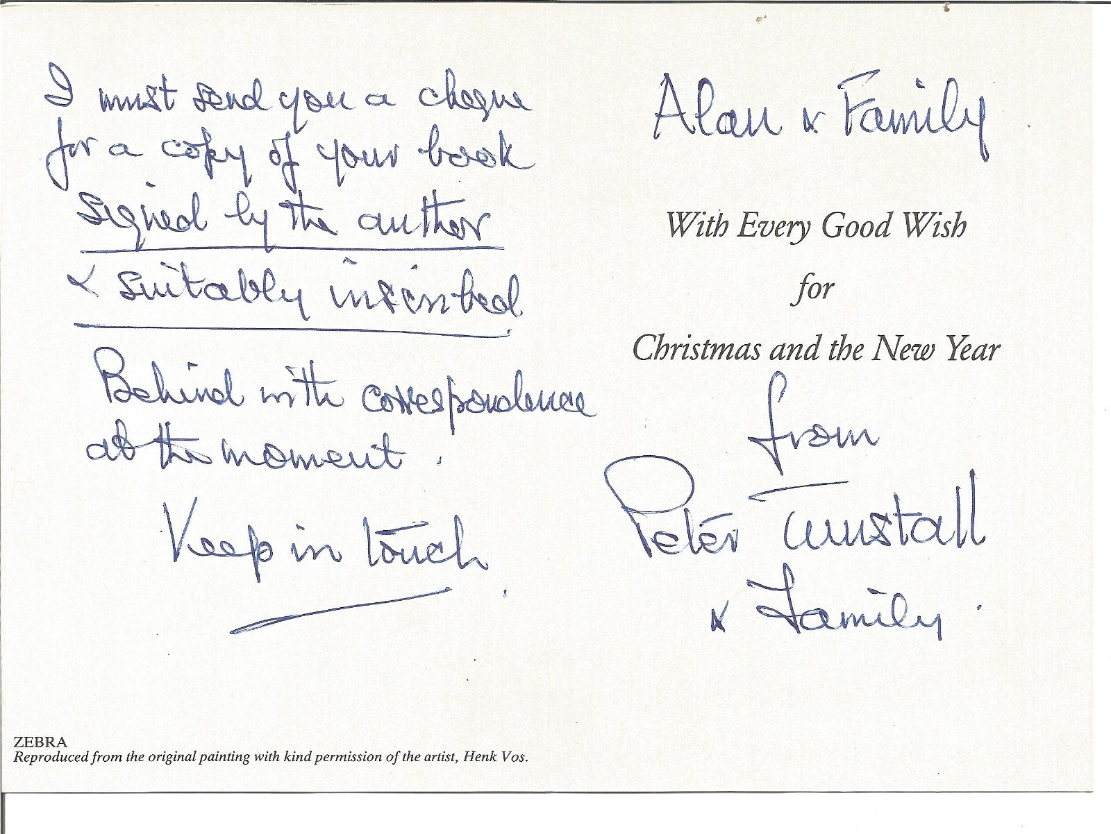 WW2 Colditz inmate Peter Tunstell signed Christmas card