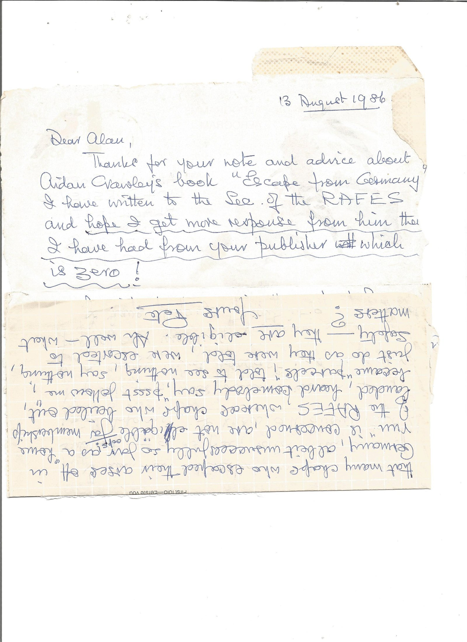 WW2 Colditz inmate Peter Tunstell hand written signed