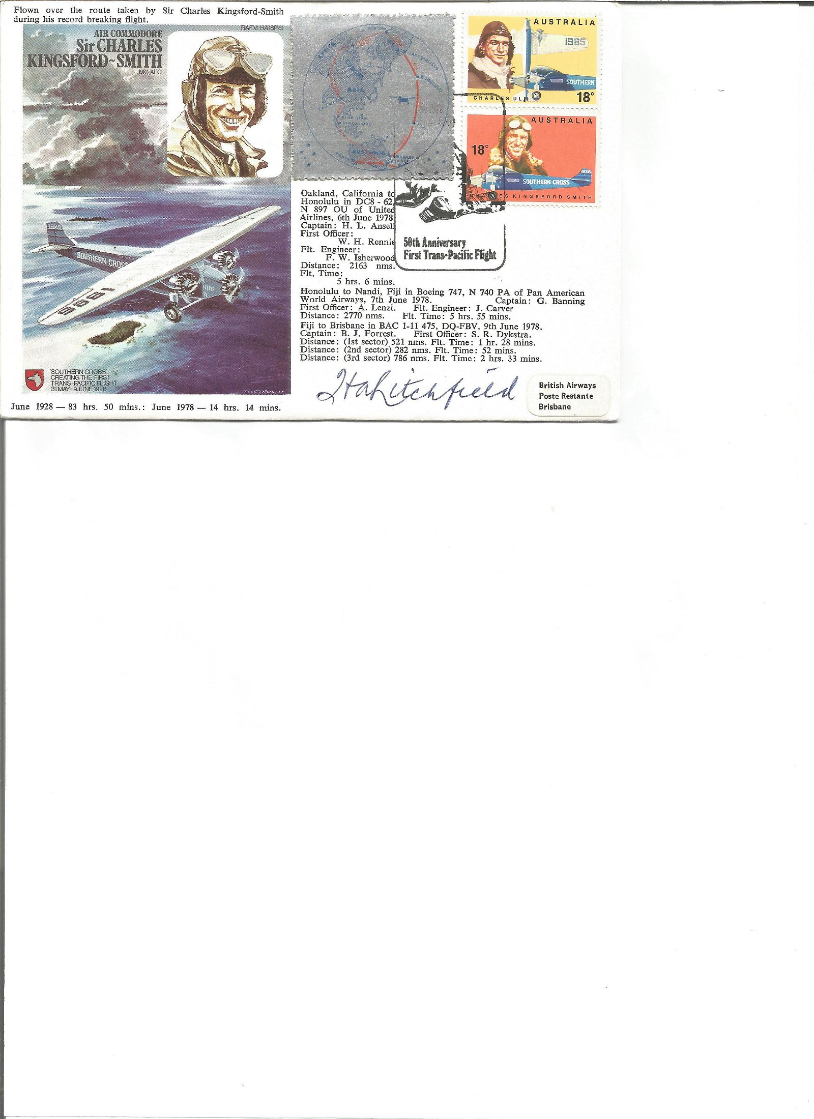 Air Commodore Sir Charles Kingsford Smith signed FDC No