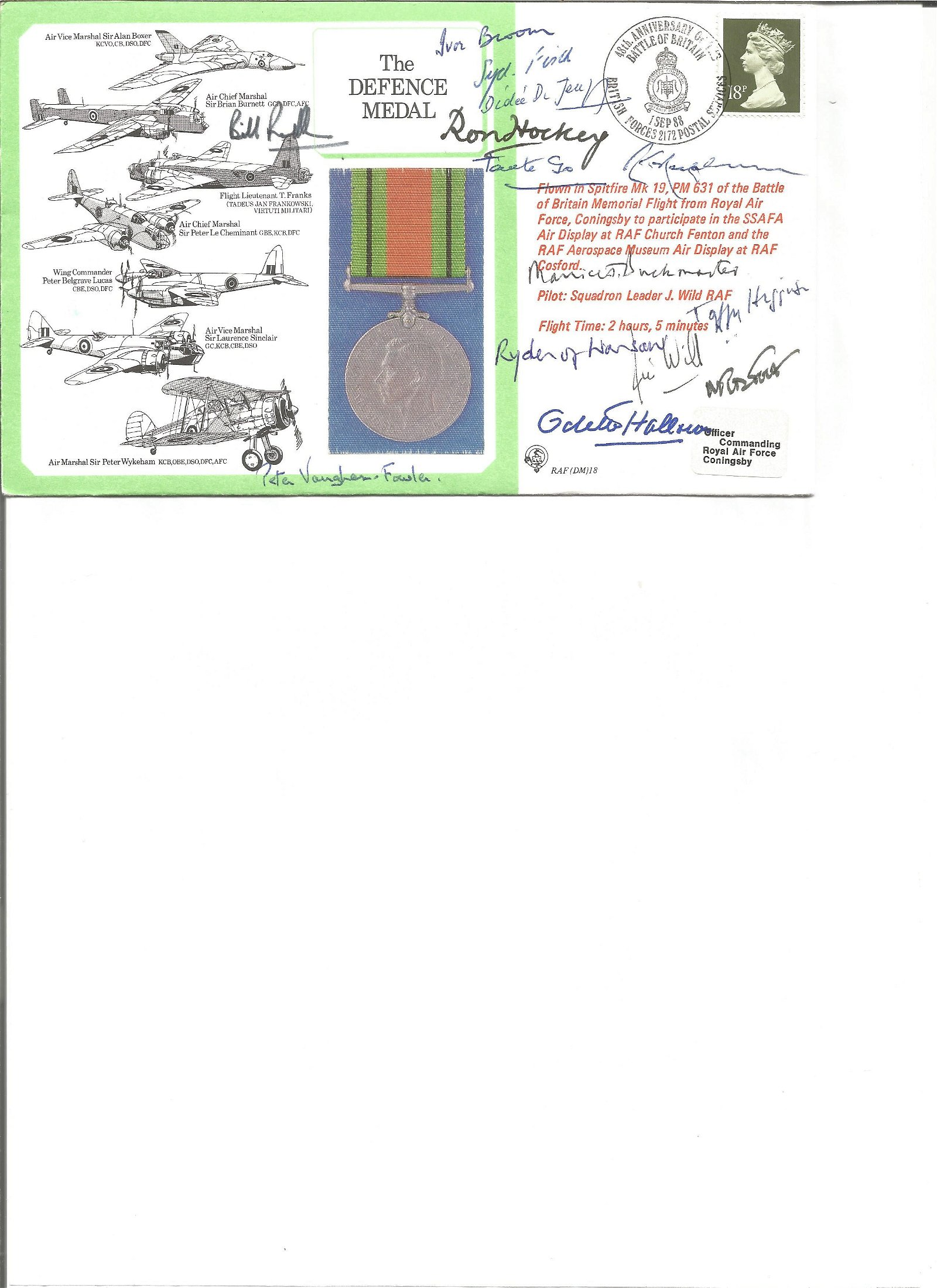 The Defence Medal multi signed FDC No 4 of 14, Flown in