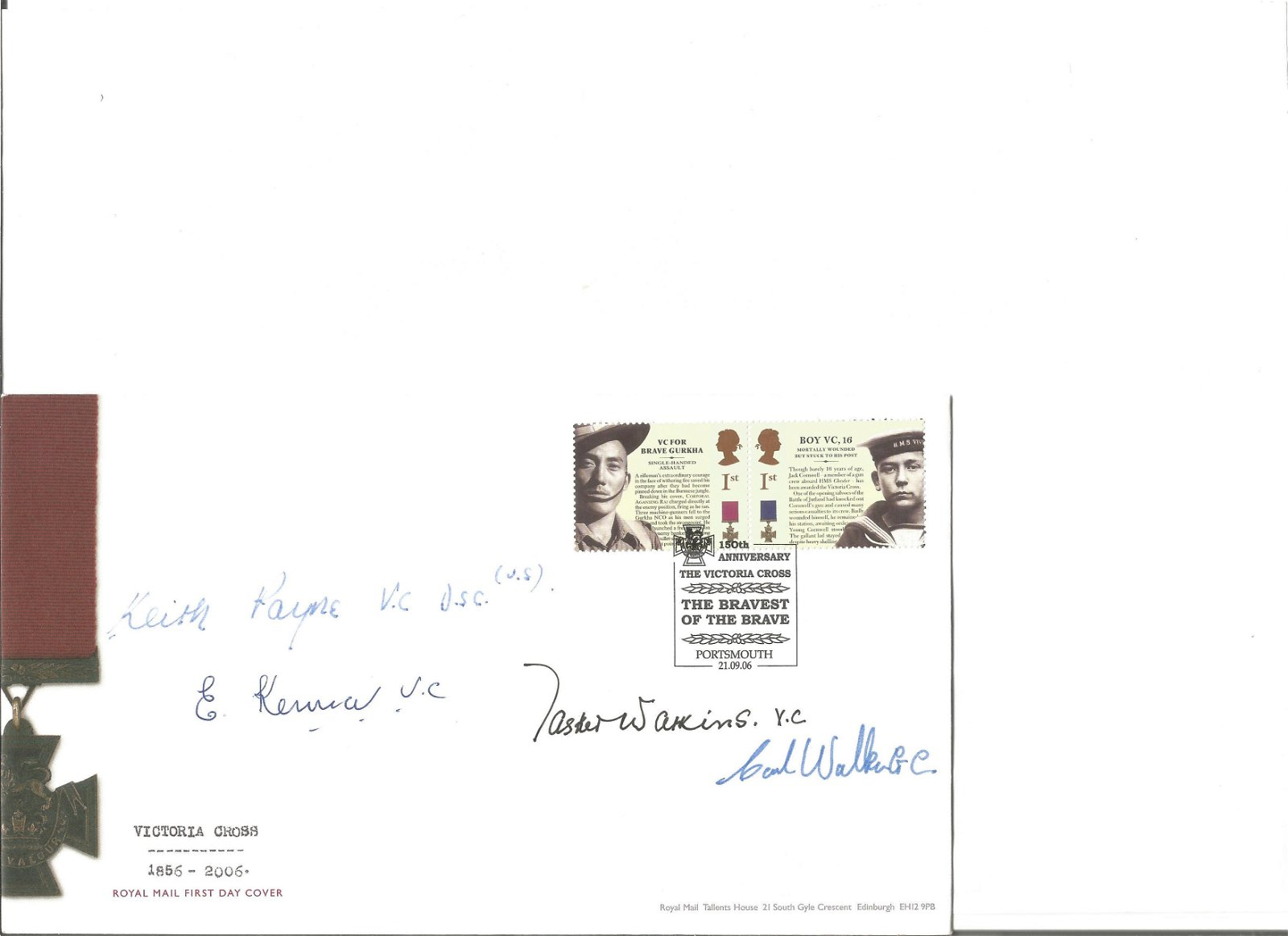 Victoria Cross 1856 2006 signed FDC date stamp 21st