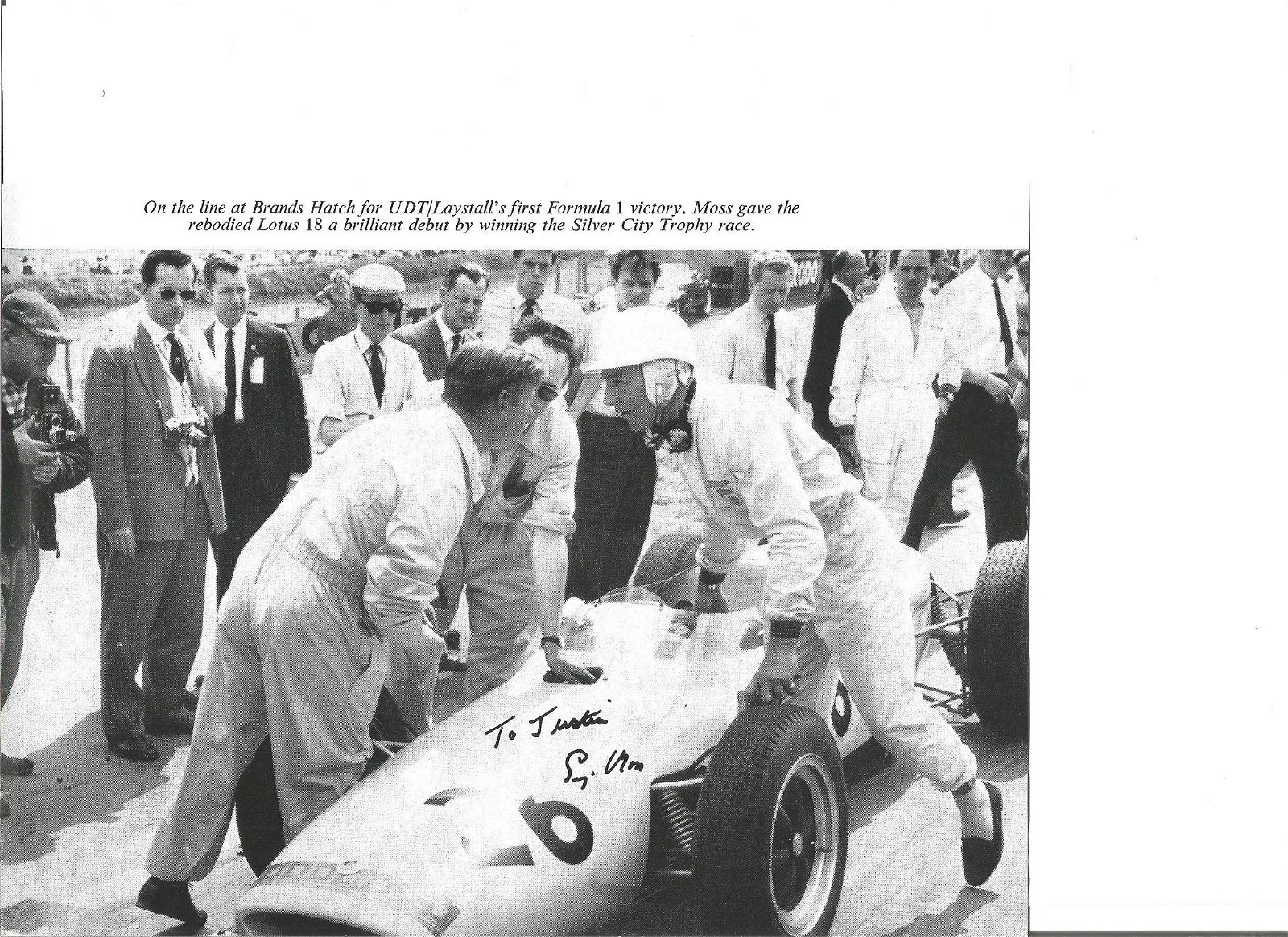 Stirling Moss signed 10 x 8 b/w Motor Racing Brands