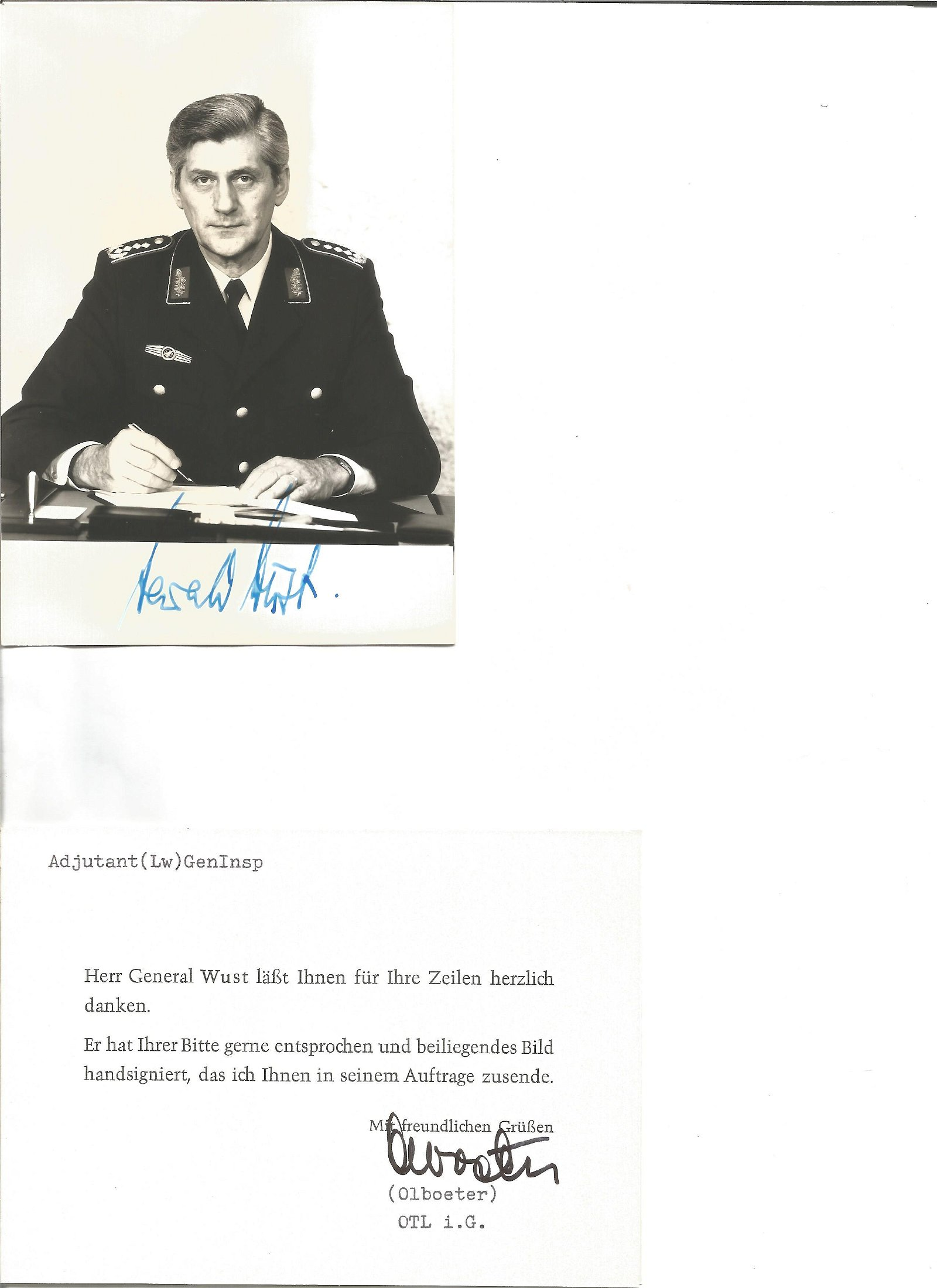 General Harald Wust was a General signed 6 x 4 photo