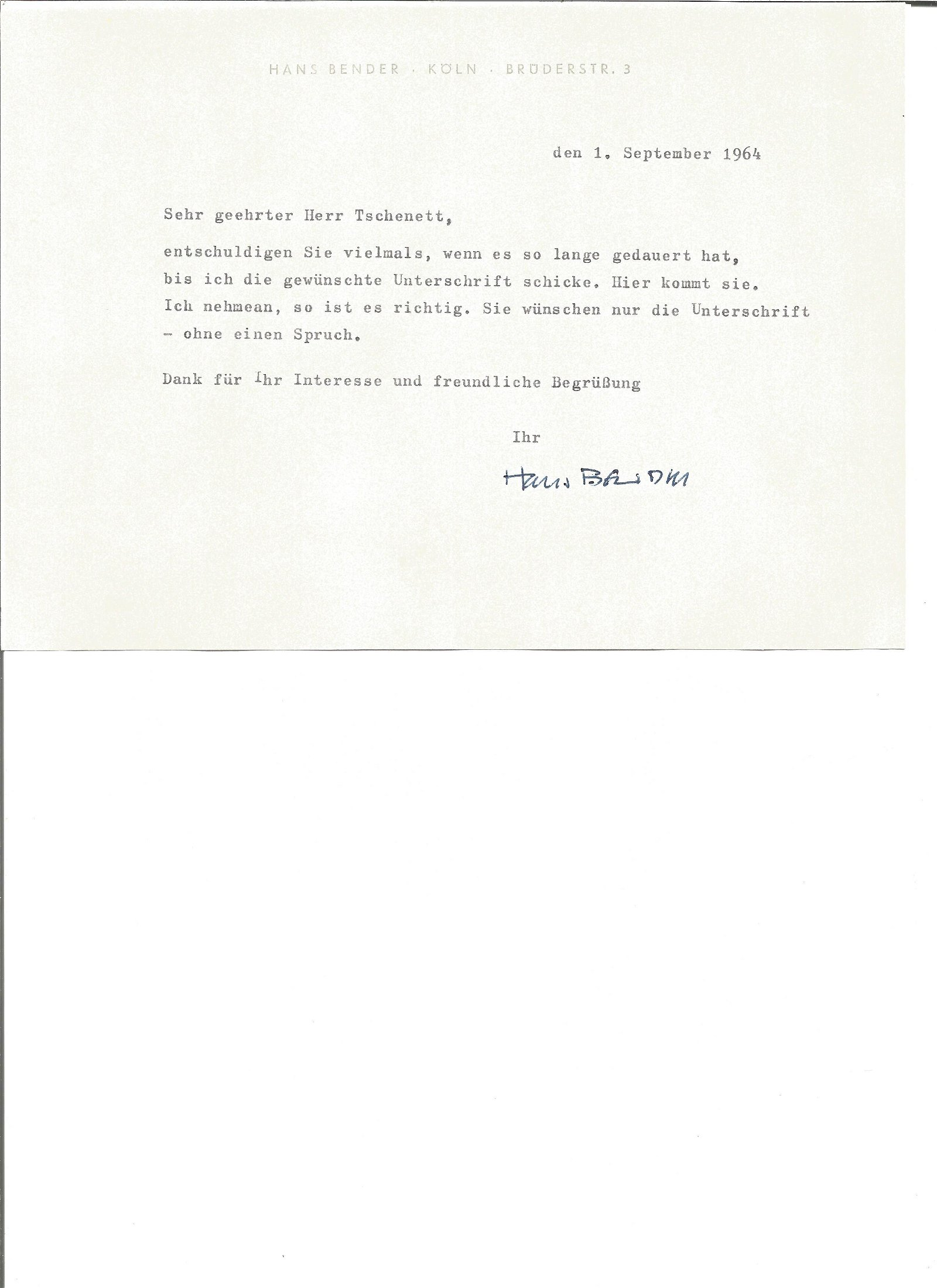 Hans Bender hand signed 1964 letter replying in German