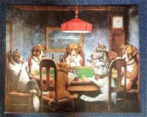 Dogs Playing Poker print approx 30x24 by the Coolinge.