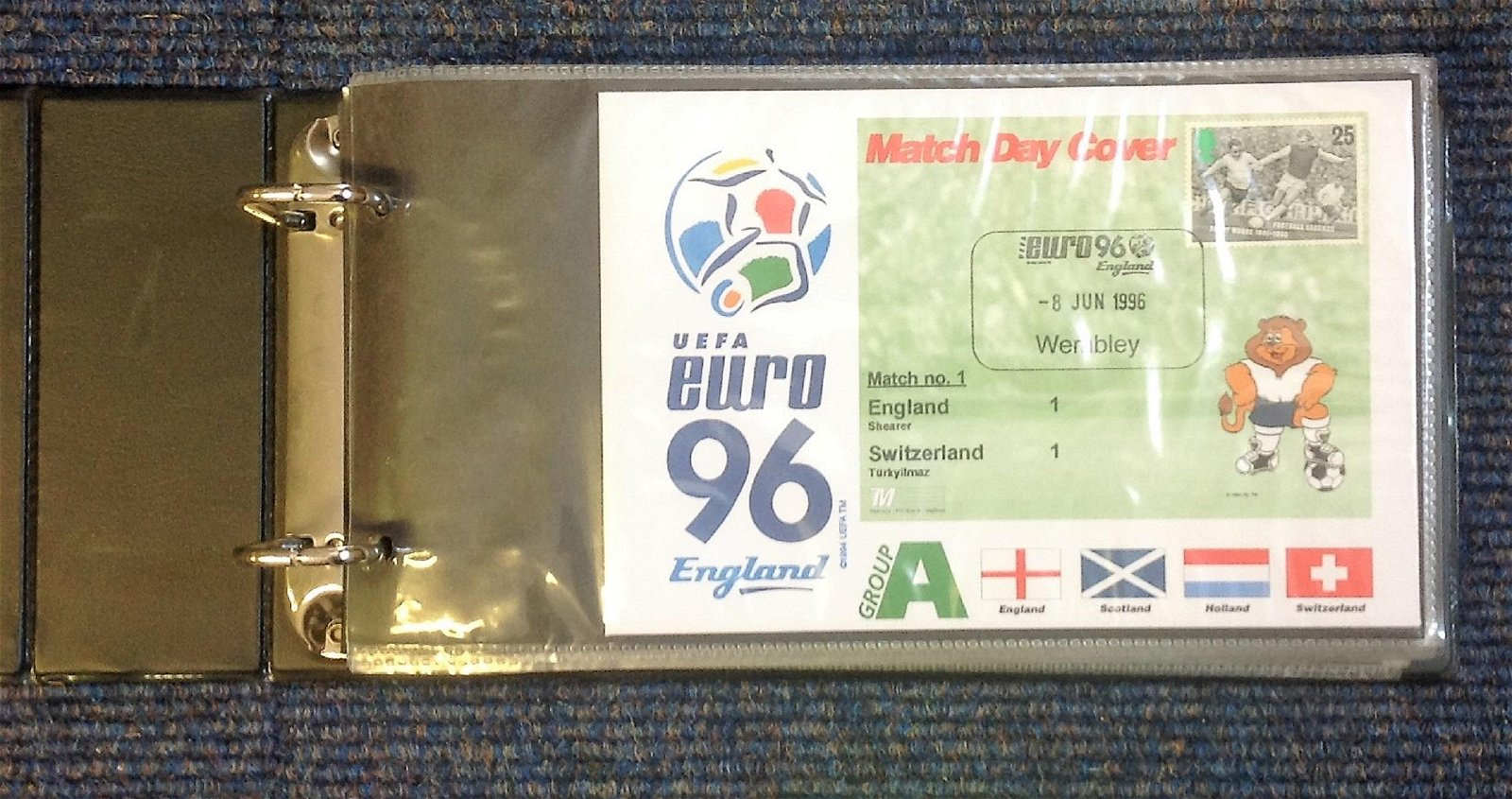 Euro 96 UEFA Football cover collection in blue half
