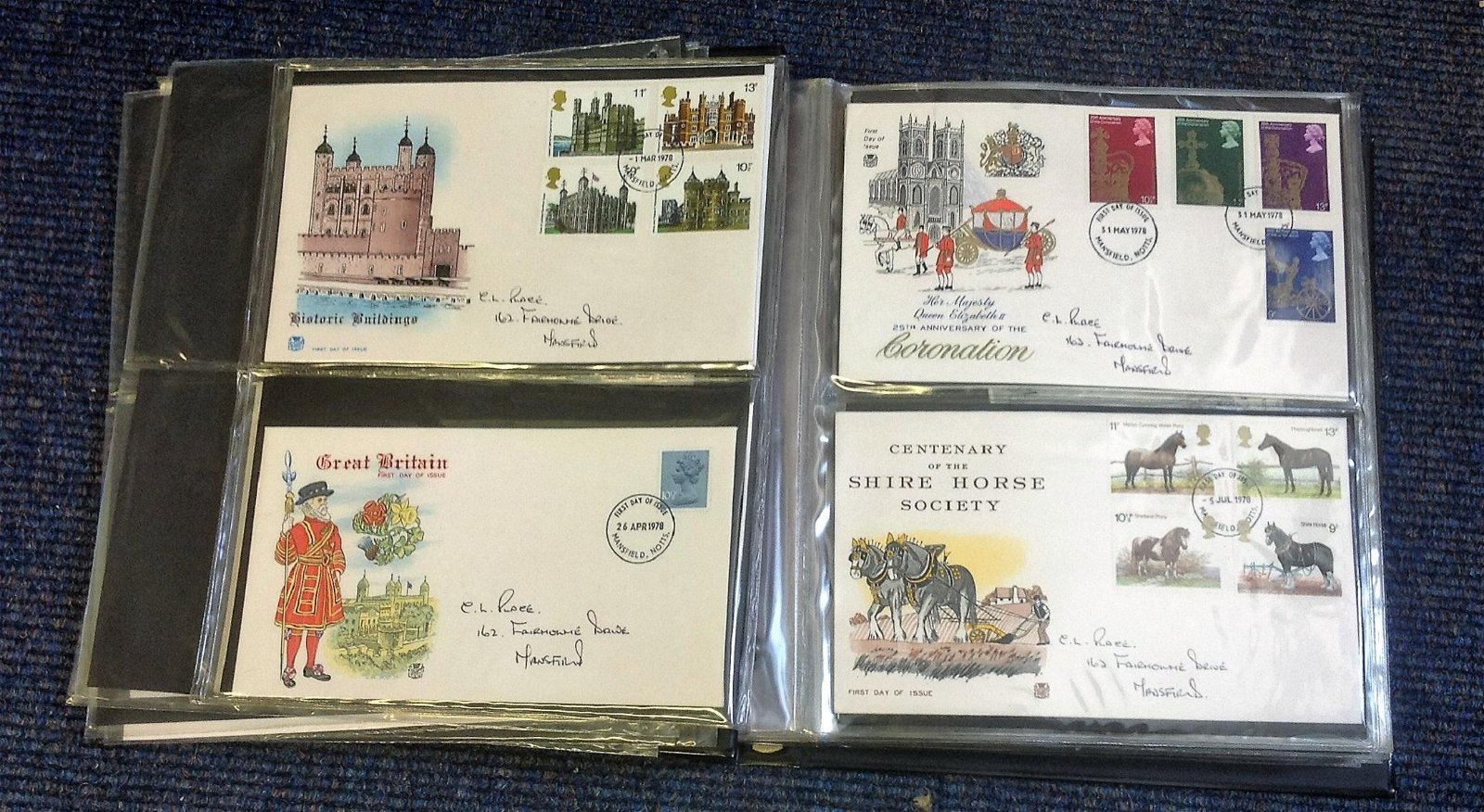 GB collection of 50+ 1980 GB FDCs in Black cover Album