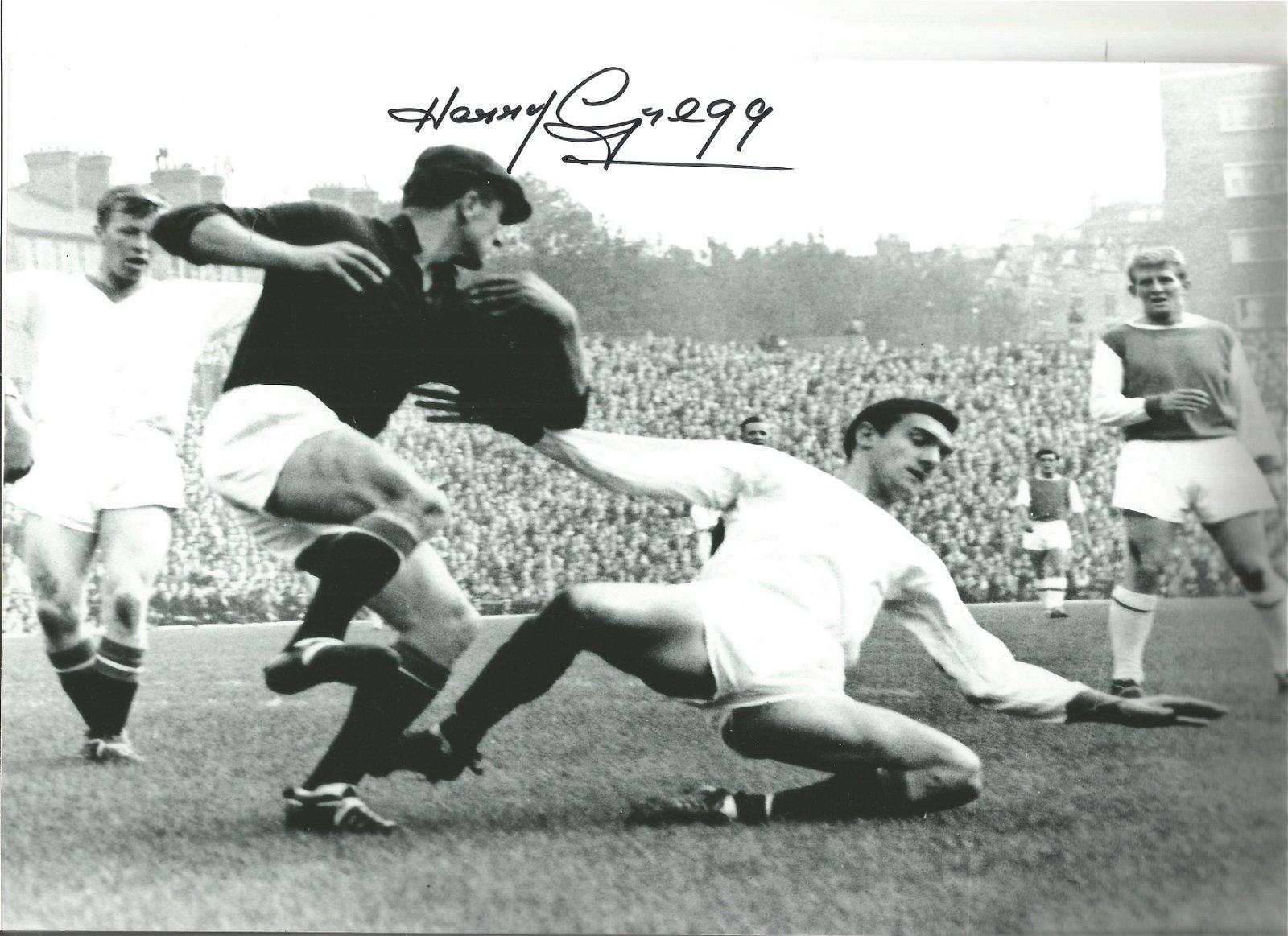 Harry Gregg Man United Signed 10 x 8 inch football