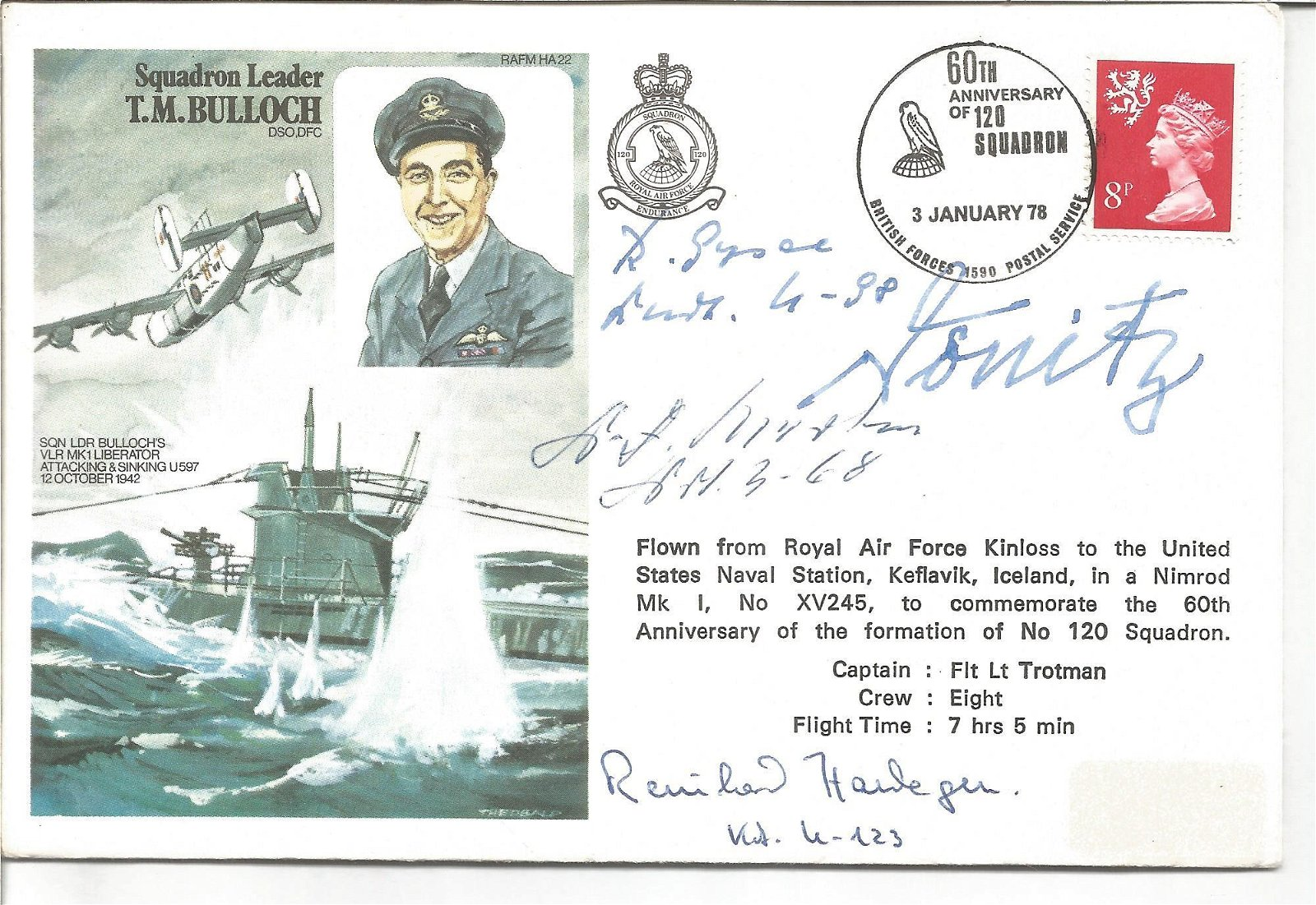 Rare WW2 Uboats commanders signed Sqn Ldr Bulloch