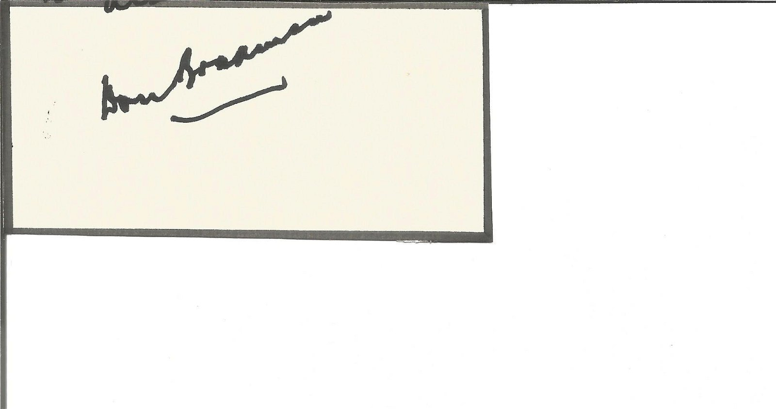 Cricket Sir Don Bradman signed small card with