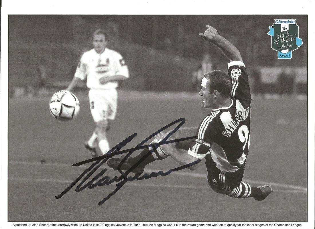 Alan Shearer Signed Black & White Collection Photo 12 X